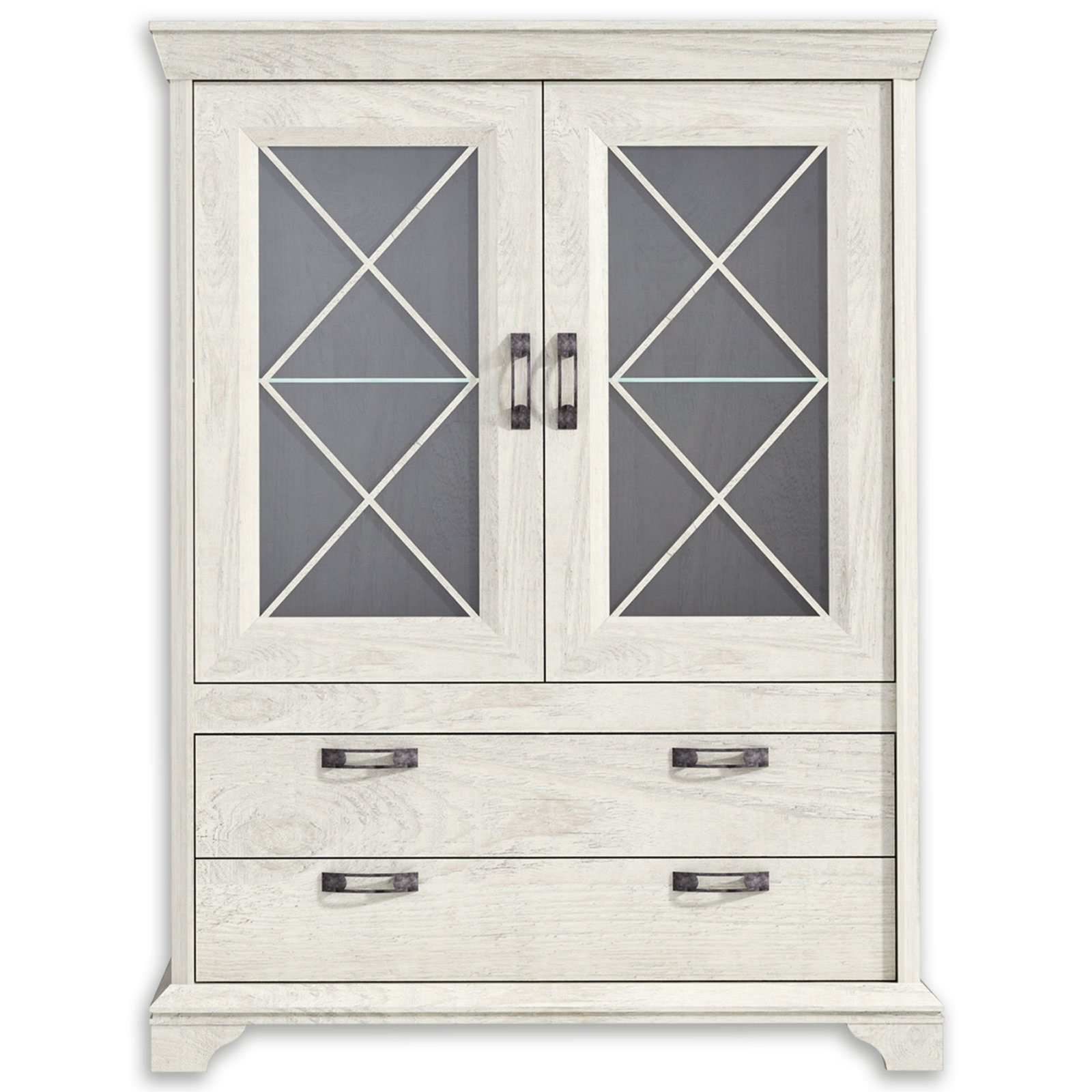 vitrine breit kashmir pinie wei mit beleuchtung vitrinen wohnzimmer wohnbereiche. Black Bedroom Furniture Sets. Home Design Ideas