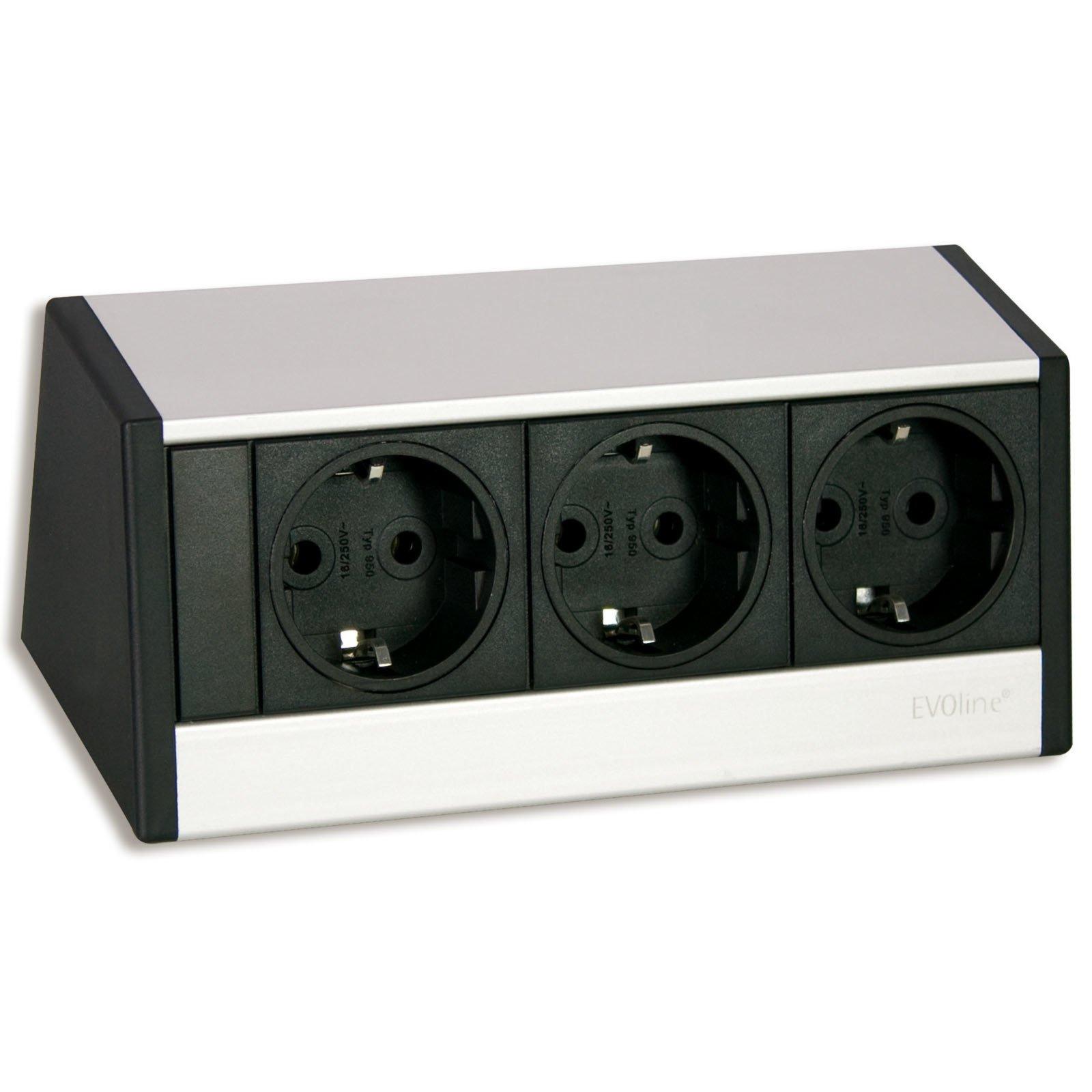 3 fach steckdosen element evo schwarz silber. Black Bedroom Furniture Sets. Home Design Ideas