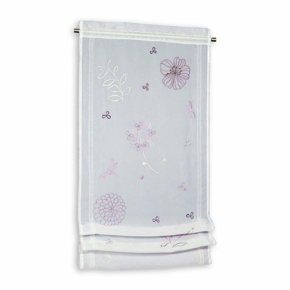 raffrollo wei lila 50x120 cm transparente raffrollos raffrollos rollos jalousien. Black Bedroom Furniture Sets. Home Design Ideas