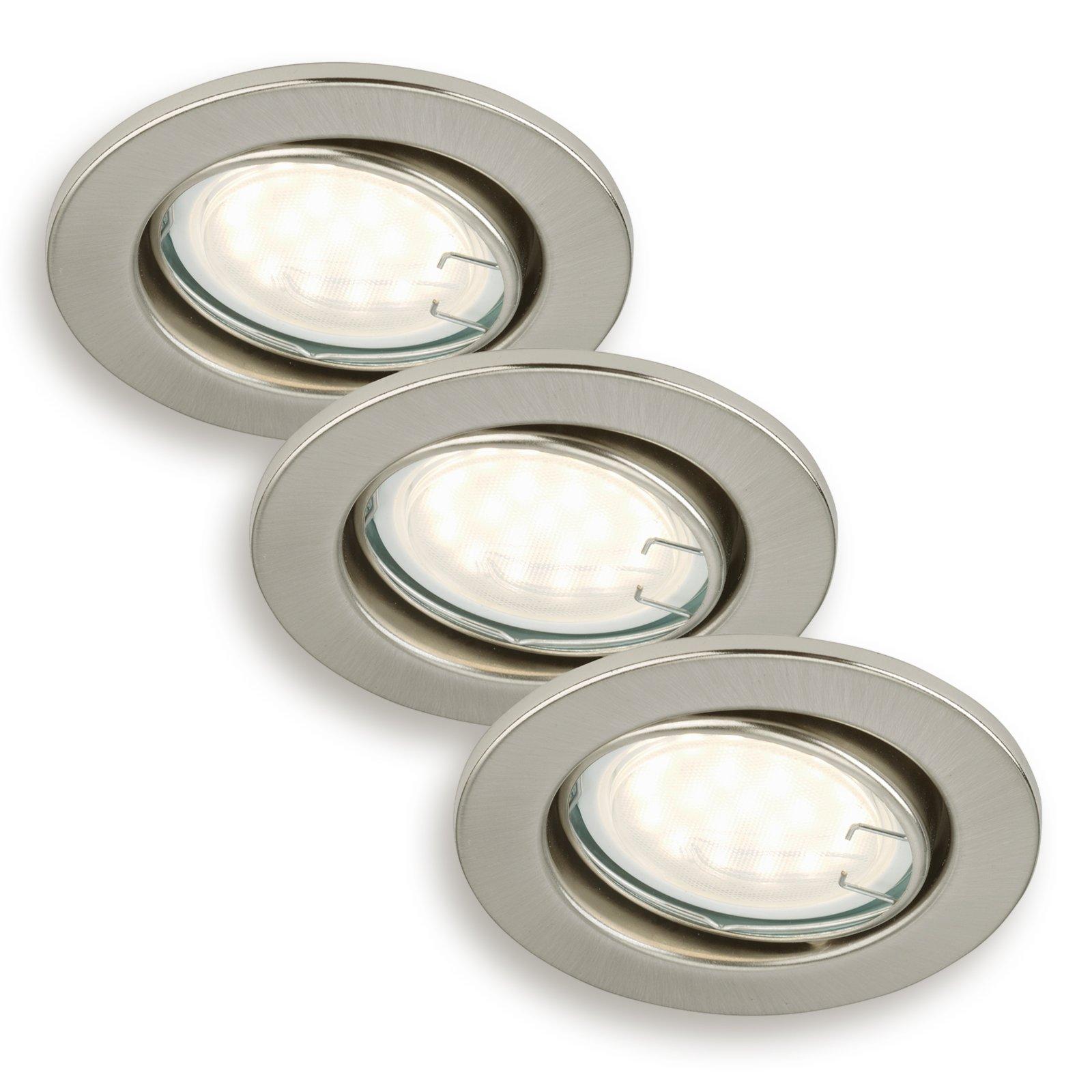 3er set led einbauspots nickel matt schwenkbar einbauspots deckenleuchten lampen. Black Bedroom Furniture Sets. Home Design Ideas