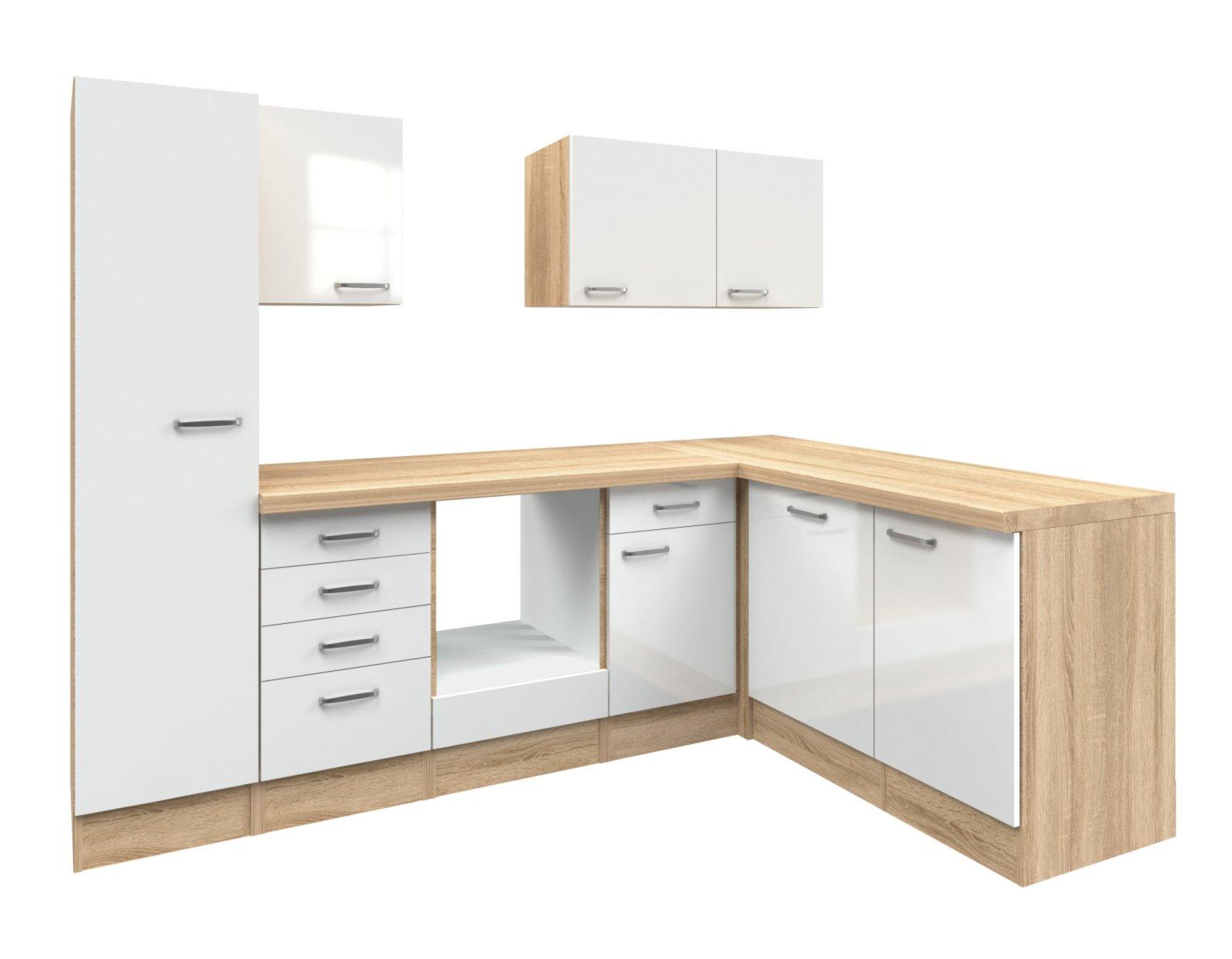winkelk che valero wei hochglanz sonoma eiche 270x170. Black Bedroom Furniture Sets. Home Design Ideas
