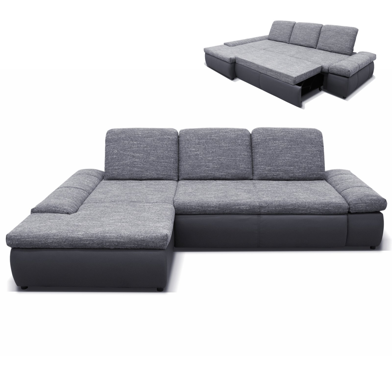 polsterecke grau dunkelgrau mit funktionen recamiere links ecksofas l form sofas. Black Bedroom Furniture Sets. Home Design Ideas