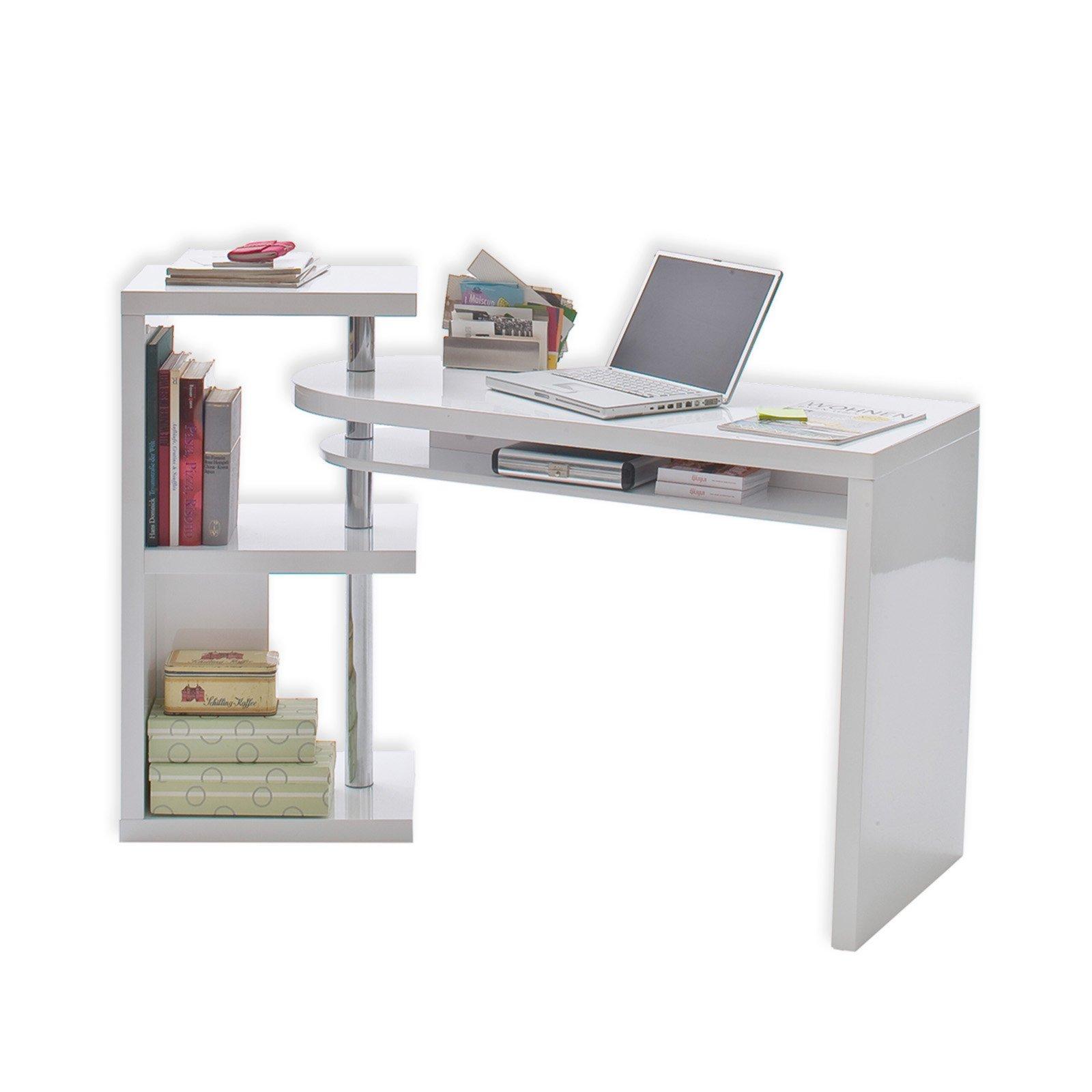 Schreibtischplatte weiß  Schreibtisch MATTIS - weiß - hochglanz - schwenkbar ...