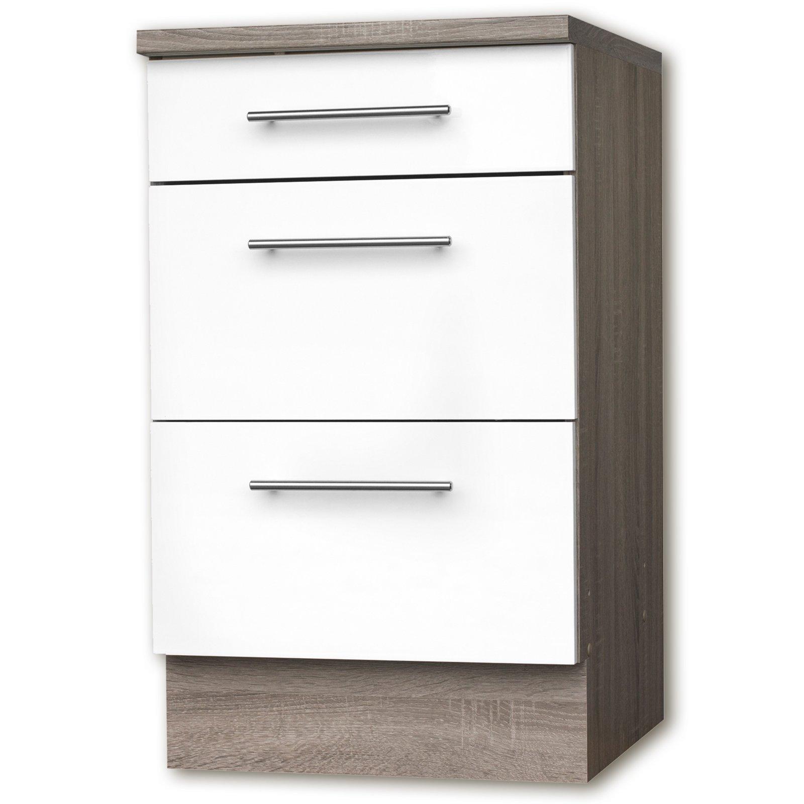 anrichte julia wei hochglanz tr ffel 3 schubk sten 50 cm ebay. Black Bedroom Furniture Sets. Home Design Ideas