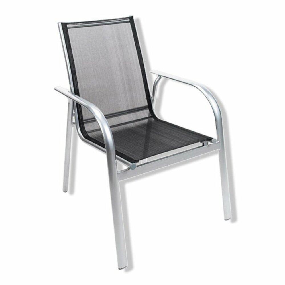 Gartenstuhl - silber-schwarz - Aluminium - stapelbar | Gartenstühle ...