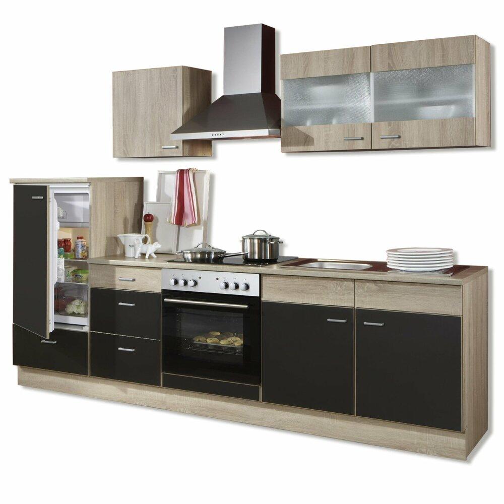 k chenblock jolina sonoma eiche lava mit e ger te k chenzeilen mit e ger ten. Black Bedroom Furniture Sets. Home Design Ideas