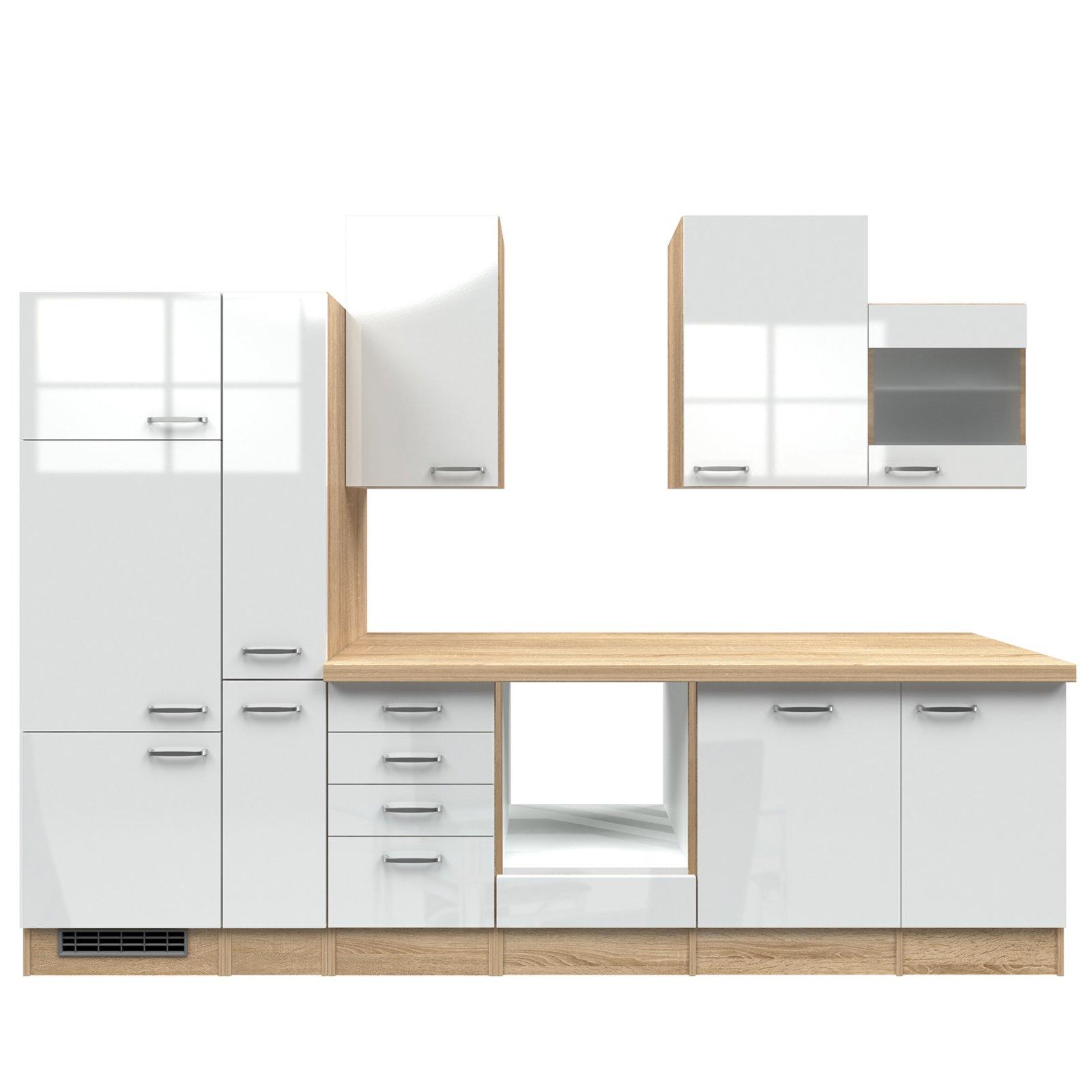 k chenblock valero wei hochglanz sonoma eiche 310 cm k chenzeilen ohne e ger te. Black Bedroom Furniture Sets. Home Design Ideas