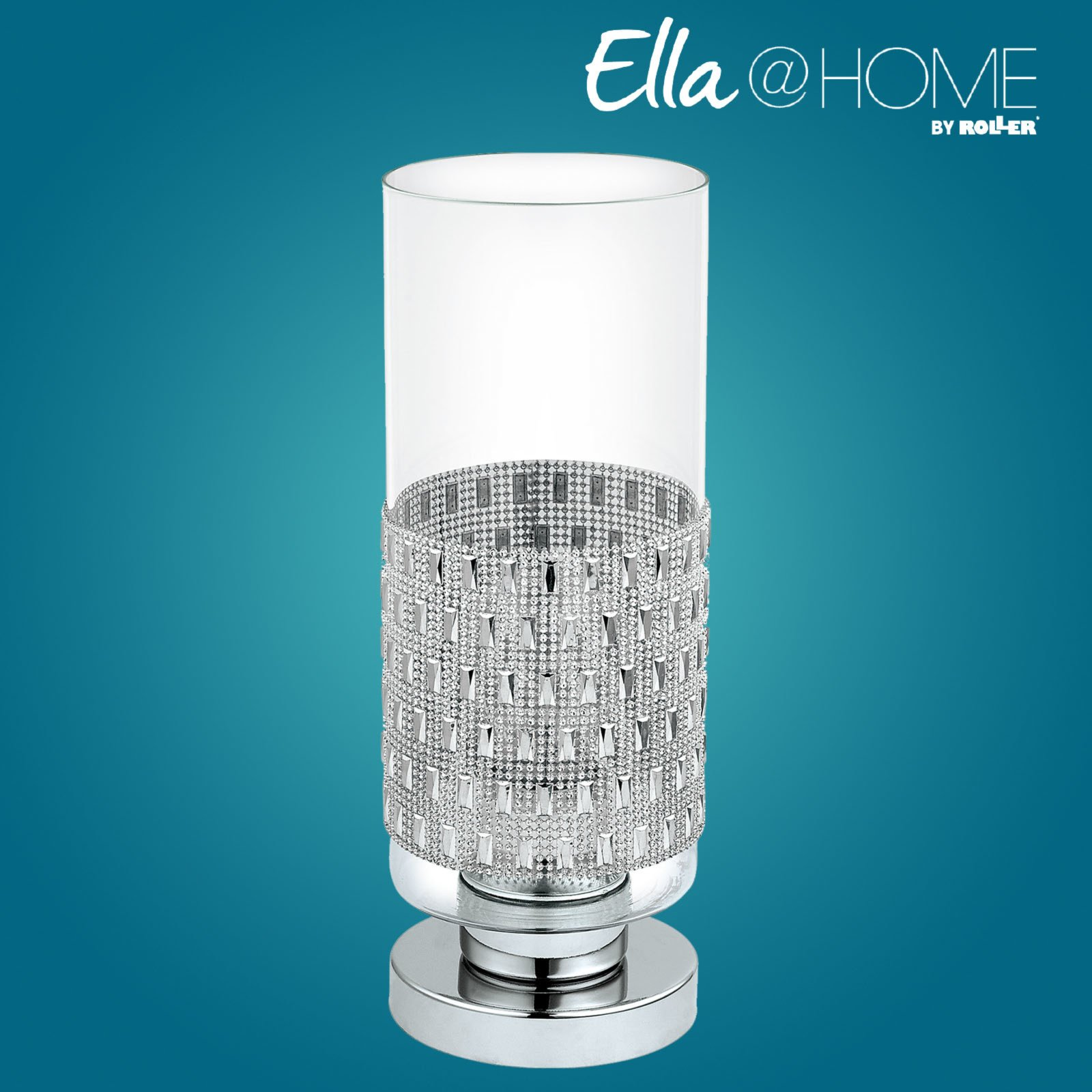 tischlampe senzana chrom glas mit bord re ella. Black Bedroom Furniture Sets. Home Design Ideas