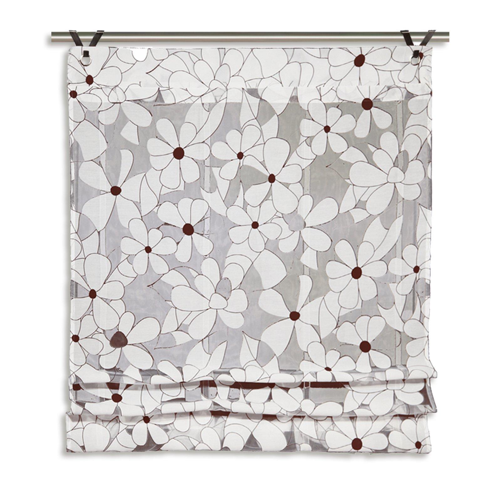 benny grau braun 100x140 cm transparente raffrollos raffrollos. Black Bedroom Furniture Sets. Home Design Ideas