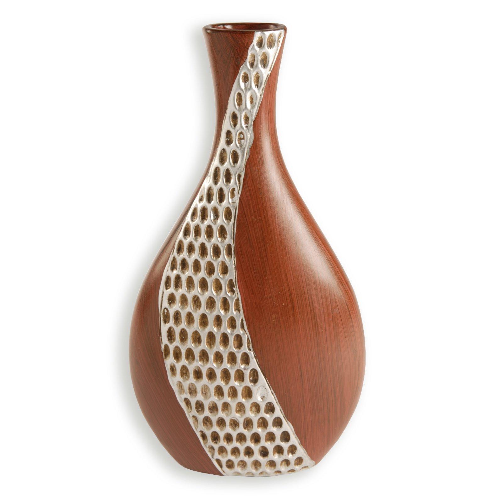 vase braun silber keramik 28 cm vasen deko. Black Bedroom Furniture Sets. Home Design Ideas