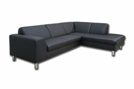 polsterecke schwarz kunstleder ottomane rechts ecksofas l form sofas couches m bel. Black Bedroom Furniture Sets. Home Design Ideas