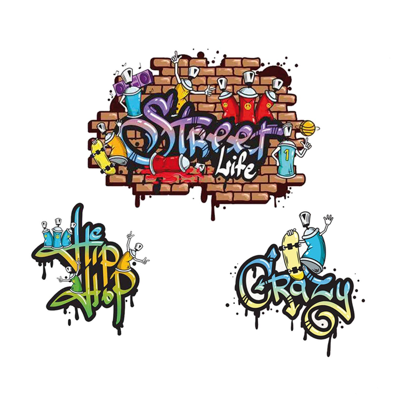 Wandtattoo graffiti 3 st ck selbstklebend for Graffiti jugendzimmer