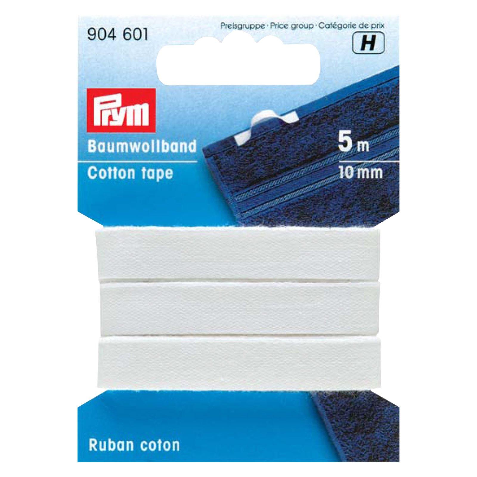 Baumwollband - Haushaltsband - weiß - 10 mm breit