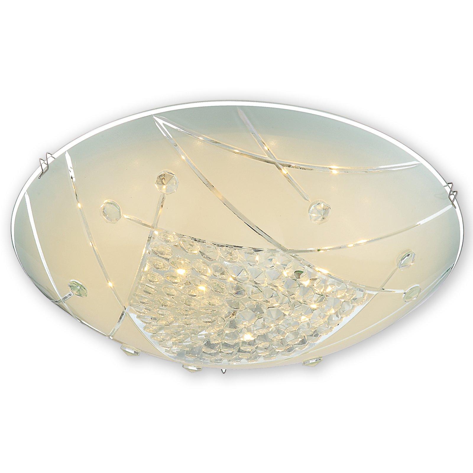 Led deckenleuchte elisa glas mit dekorkristallen led for Deckenleuchte glas