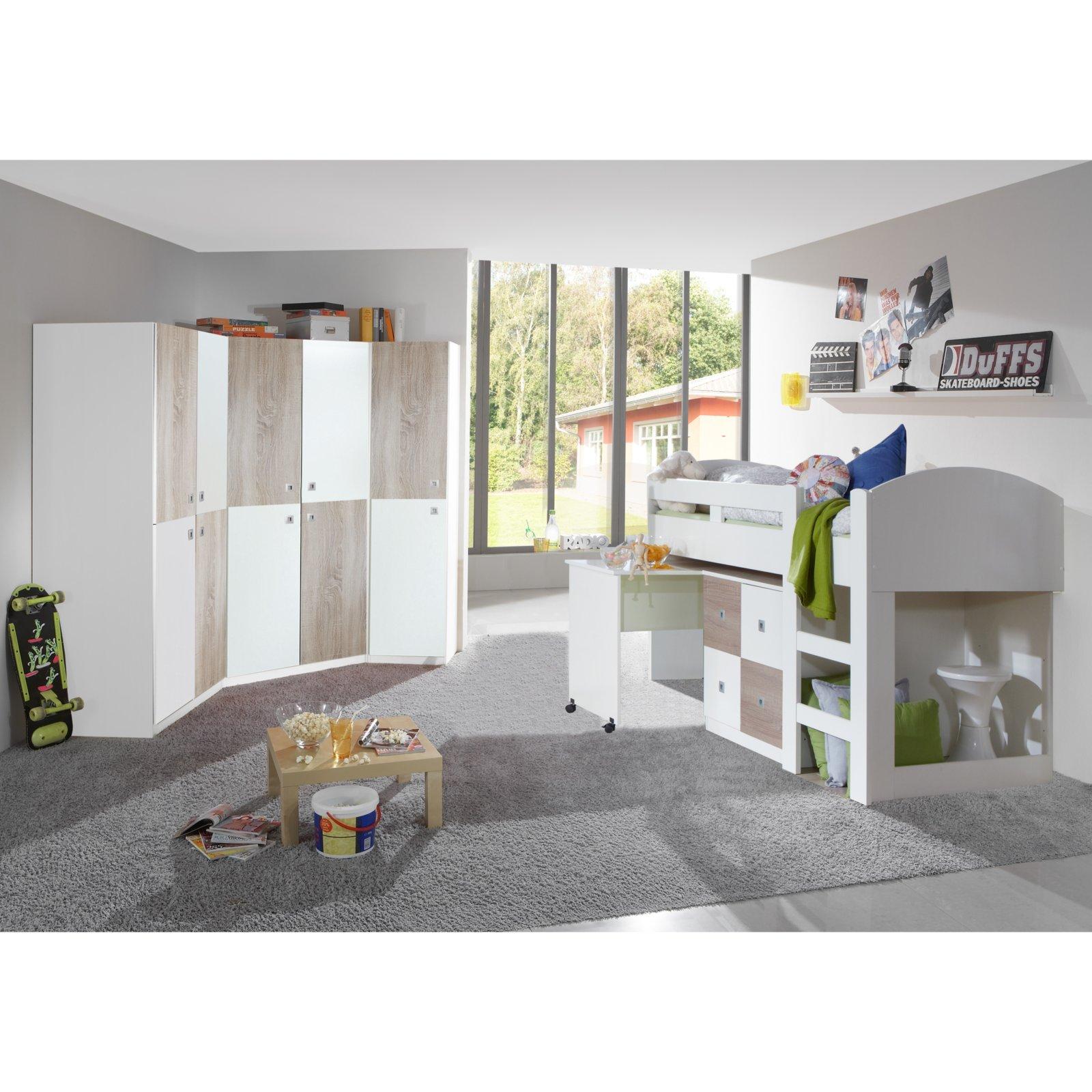 Kinderzimmer Sunny | Kleiderschrank Sunny Alpinweiss Sonoma Eiche 90x198 Cm