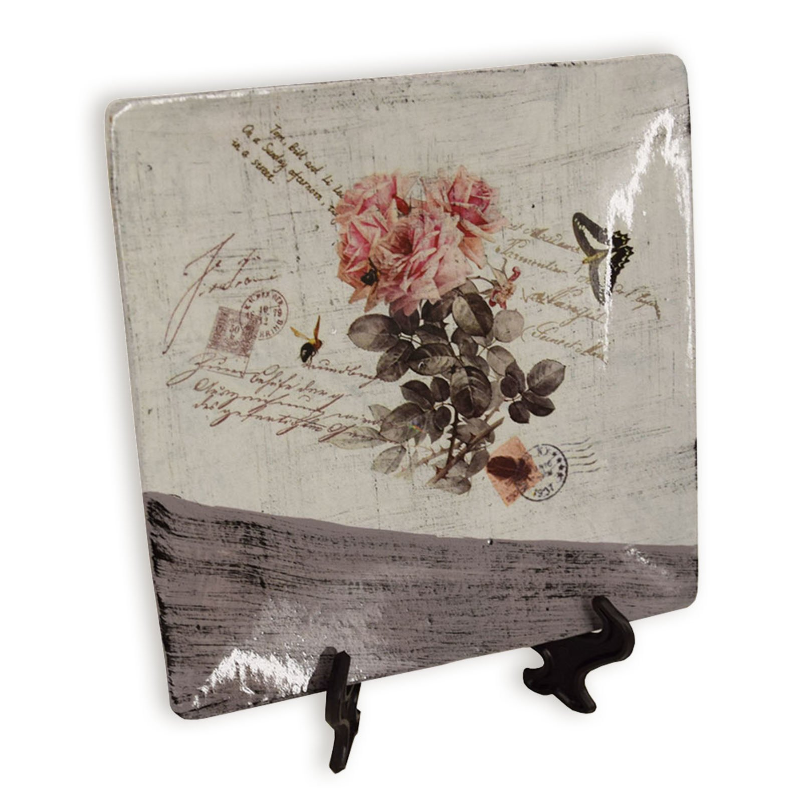 Roller deko teller rosendekor keramik 15x15 cm ebay - Roller deko ...