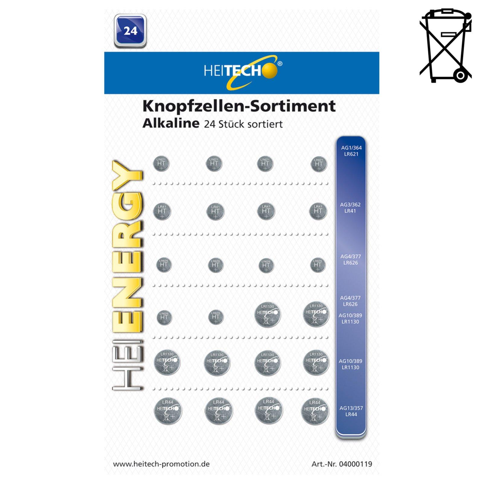 24er-Pack Knopfzellen-Sortiment - Alkaline - sortiert
