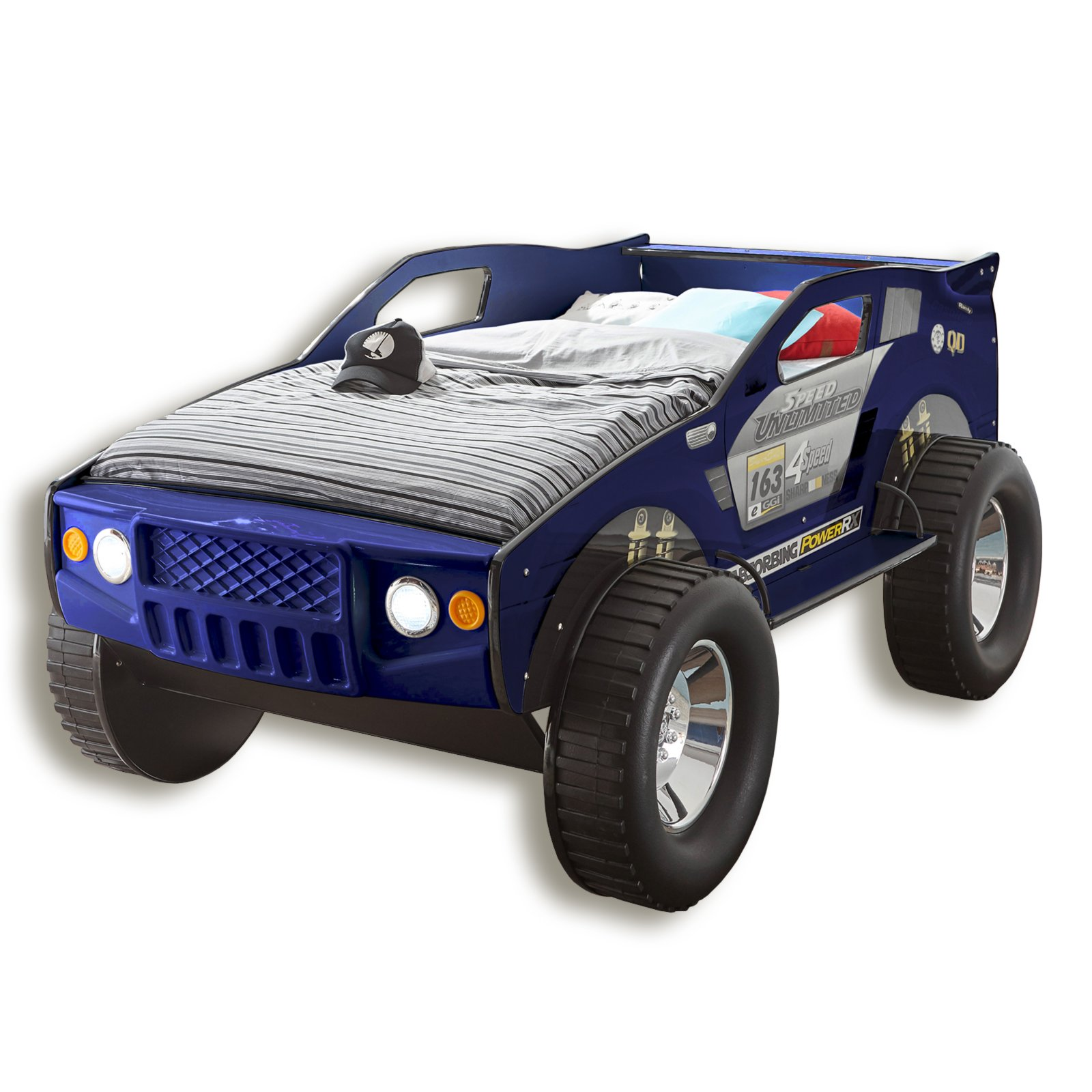 autobett jeep blau mit beleuchtung 90x200 cm jugendbetten kinderbetten betten. Black Bedroom Furniture Sets. Home Design Ideas