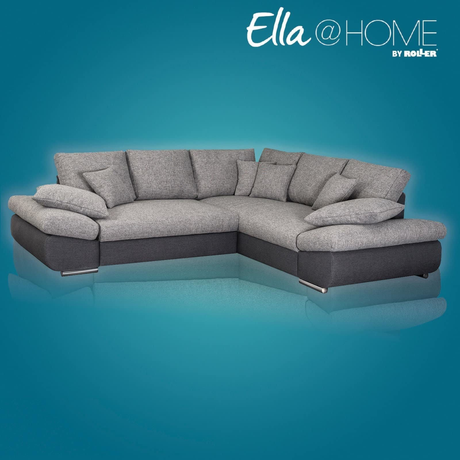 Ecksofa grau anthrazit 2 sitzer links ecksofas l for Sofa l form grau