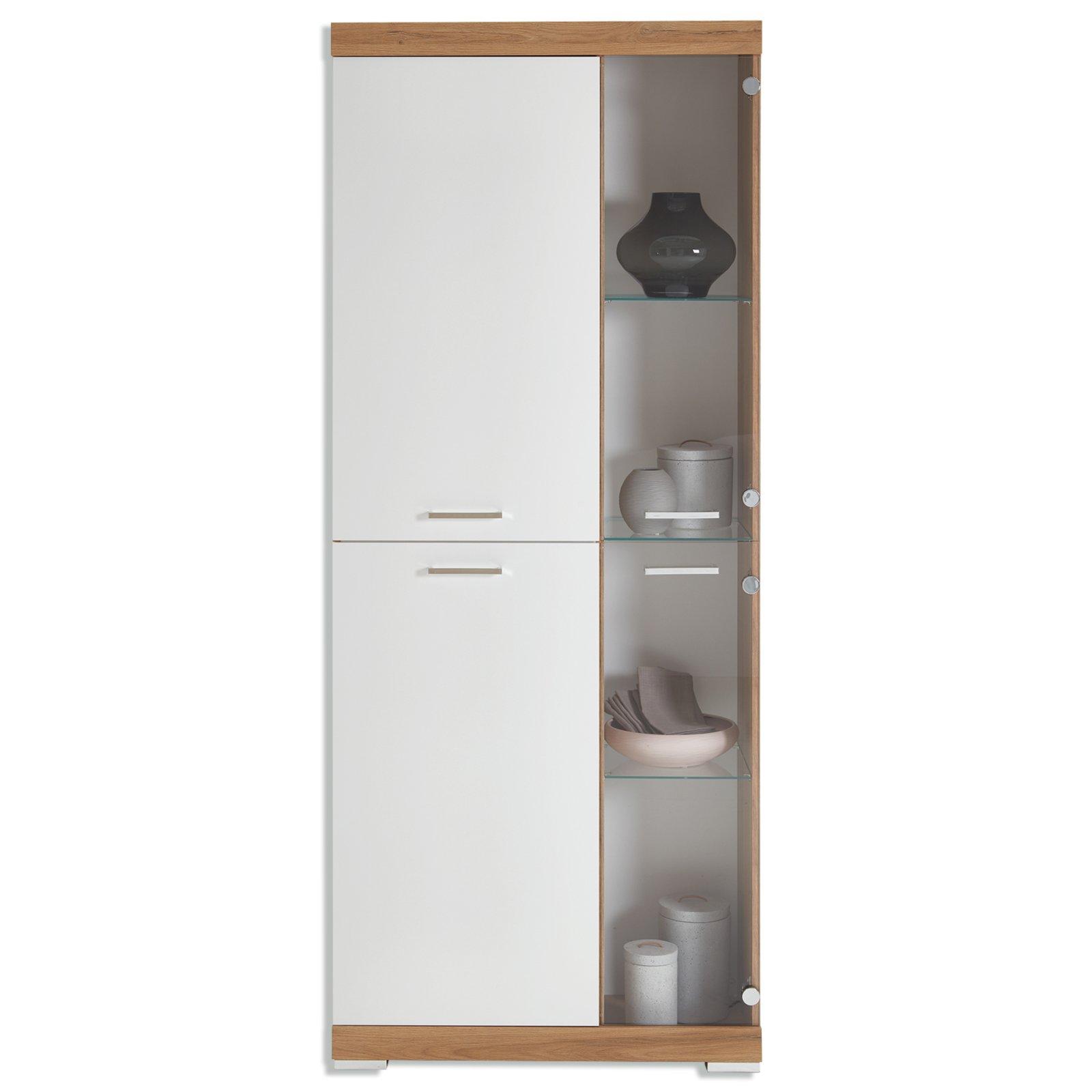 vitrine bristol alteiche wei 80 cm vitrinen wohnzimmer wohnbereiche roller m belhaus. Black Bedroom Furniture Sets. Home Design Ideas