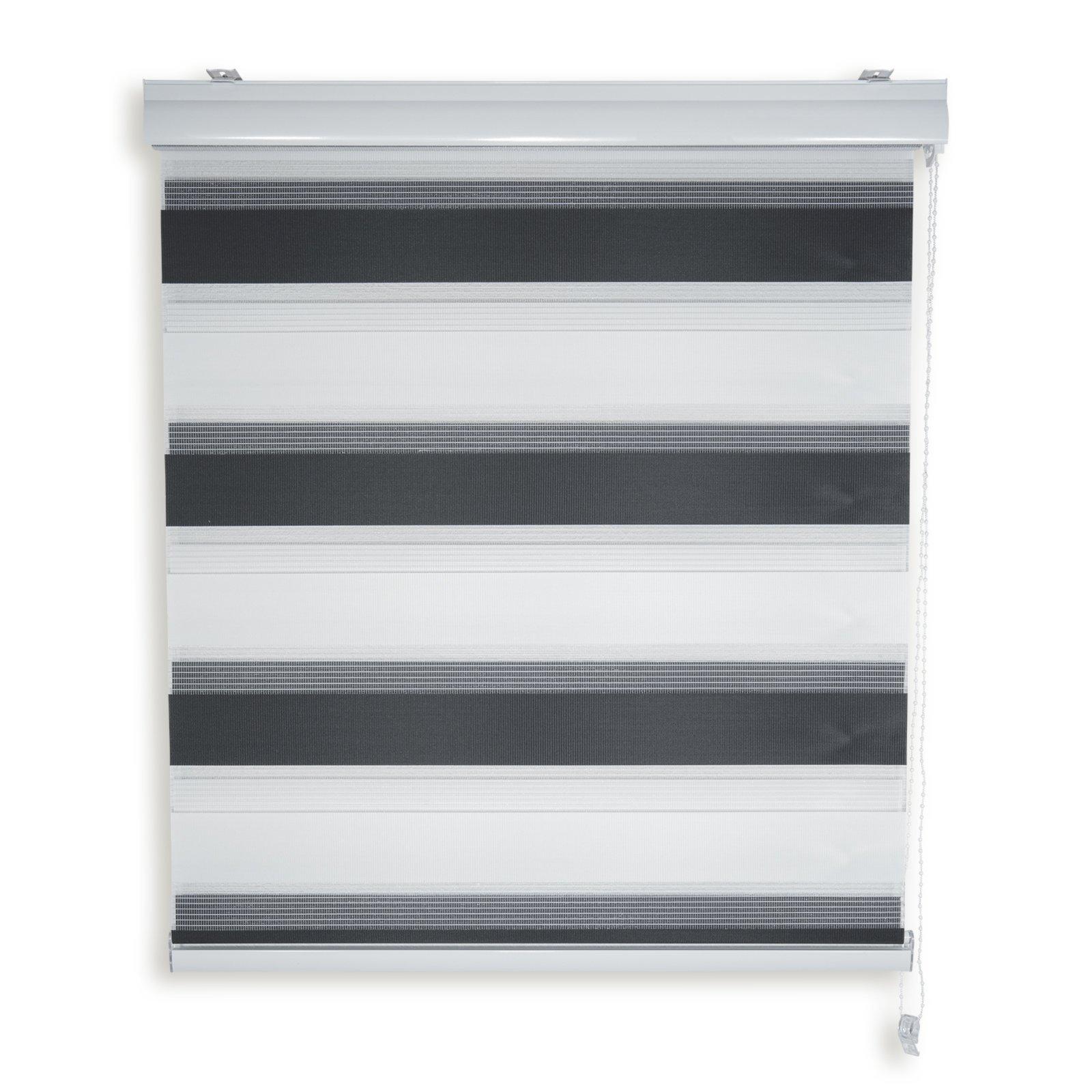 doppelrollo schwarz wei 60x180 cm. Black Bedroom Furniture Sets. Home Design Ideas