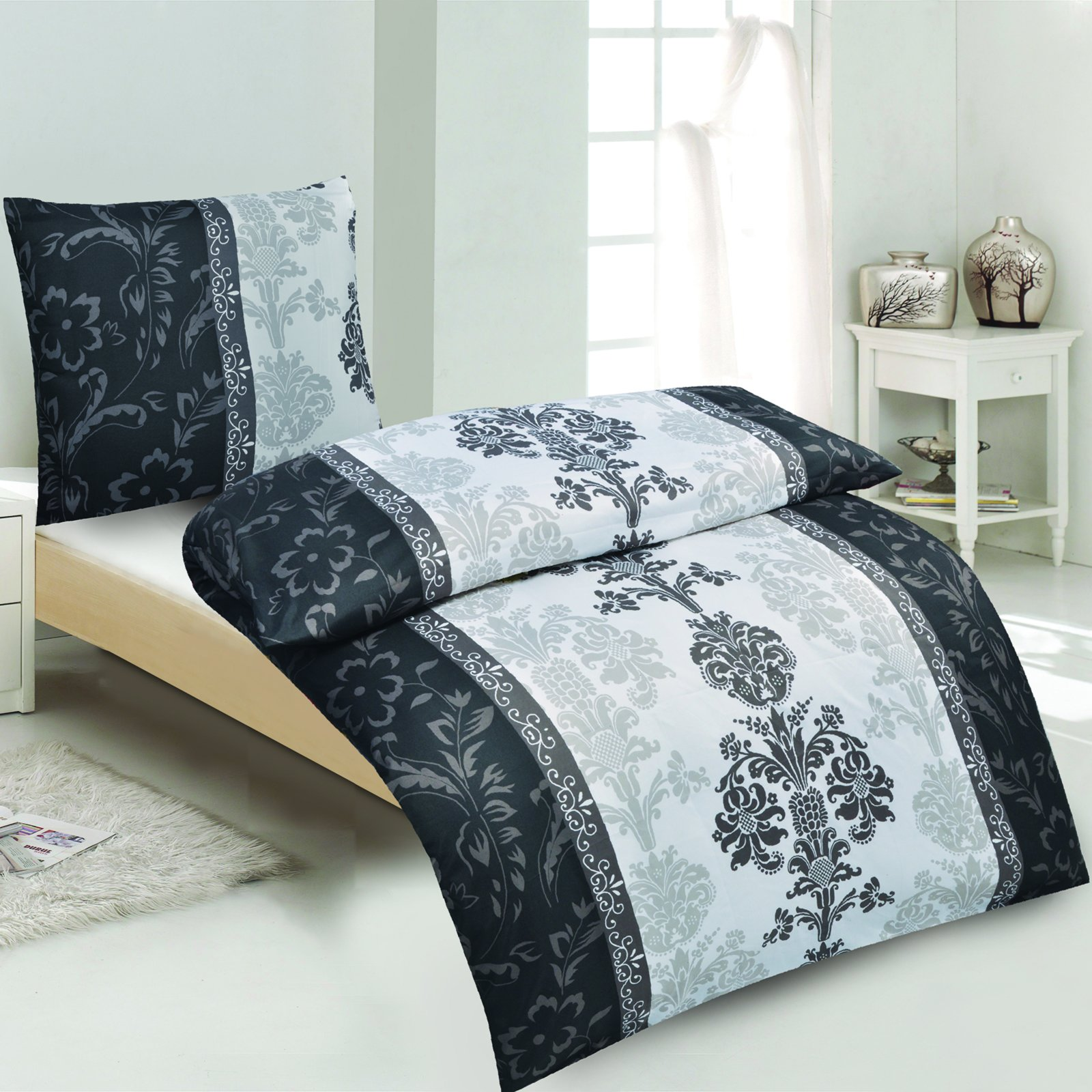 roller bettw sche sophie sw schwarz wei 155x220 cm ebay. Black Bedroom Furniture Sets. Home Design Ideas