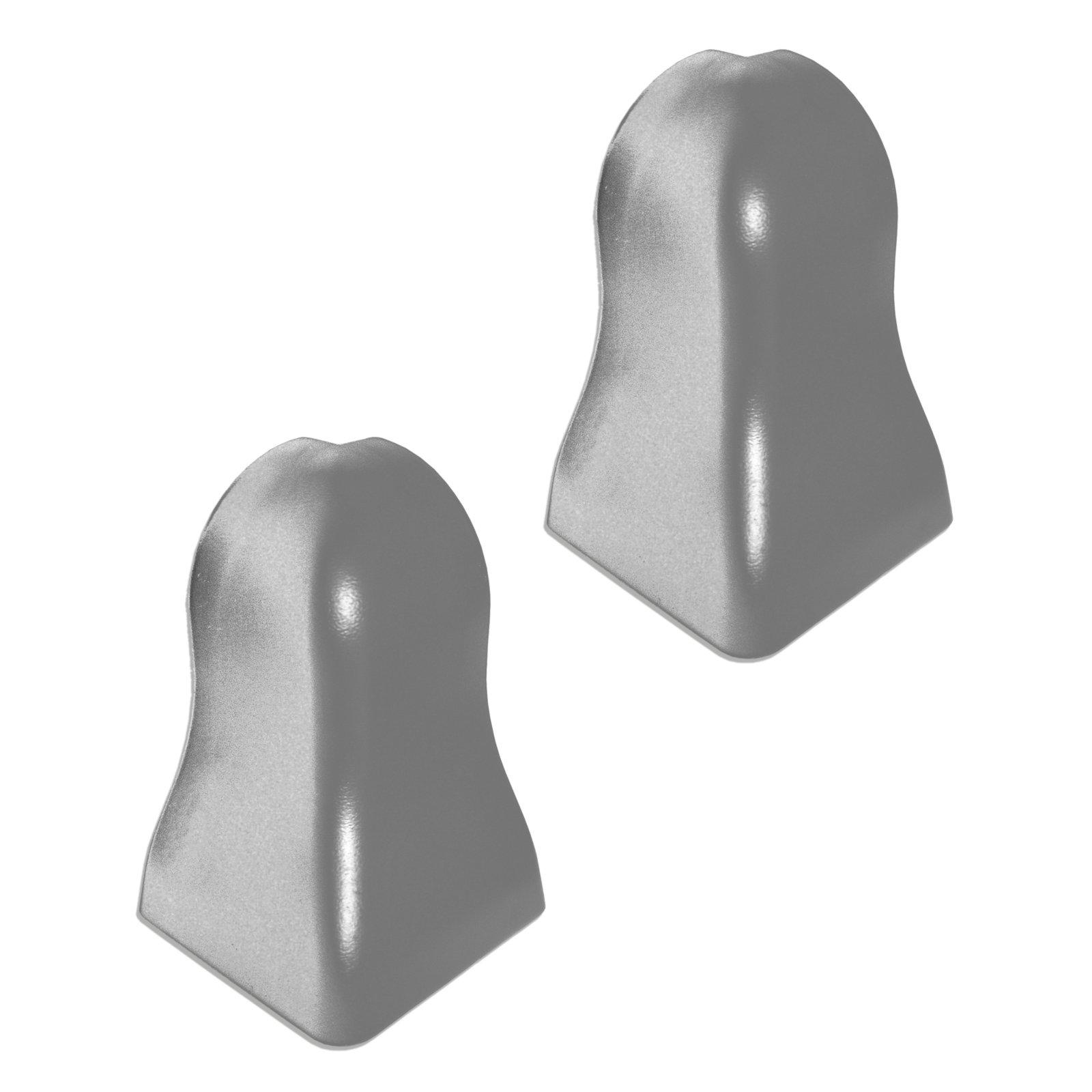 2 Außenecken K40 - silber dunkel - für Sockelleiste 40x22 mm