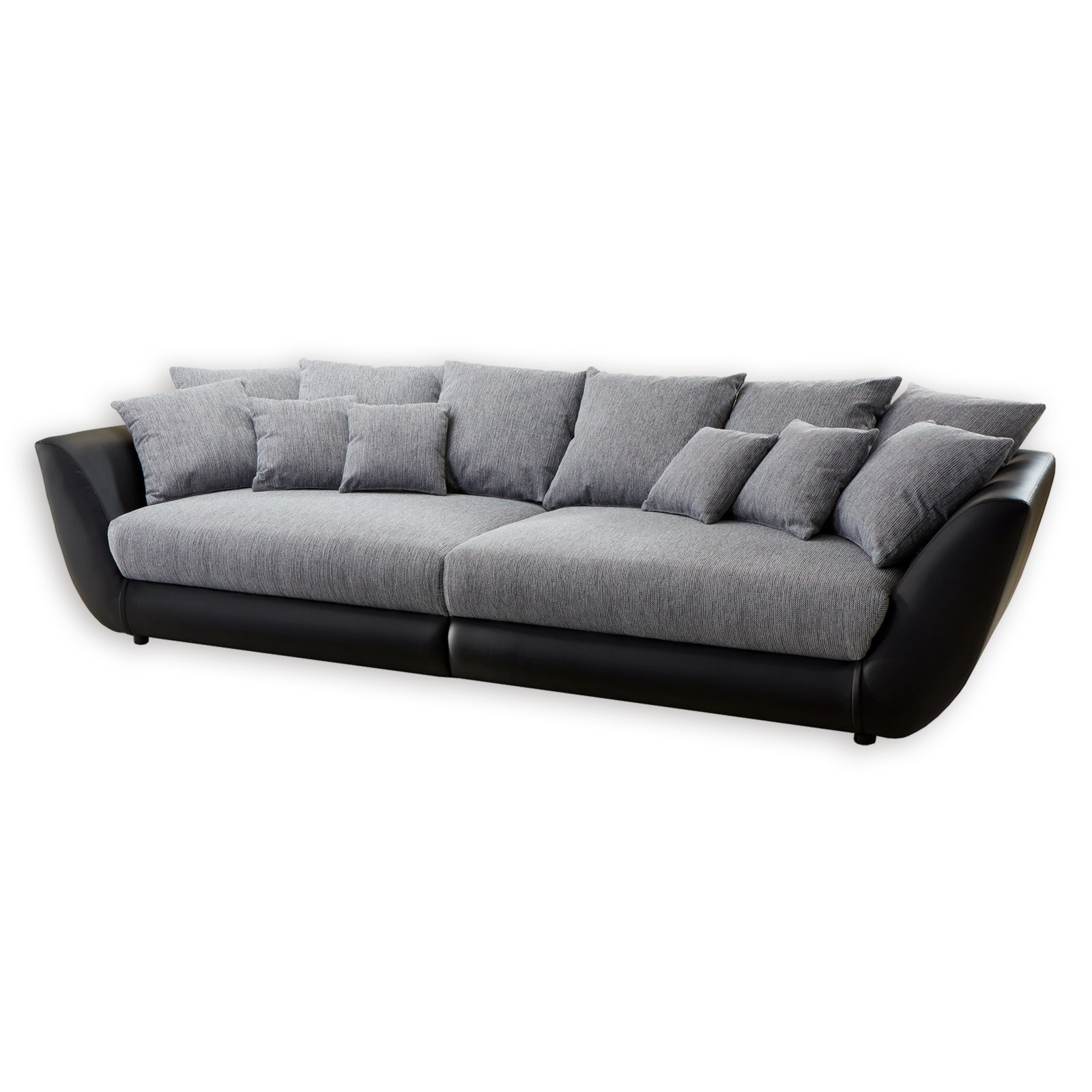 roller big sofa schwarz grau federkern mit 12 kissen ebay. Black Bedroom Furniture Sets. Home Design Ideas