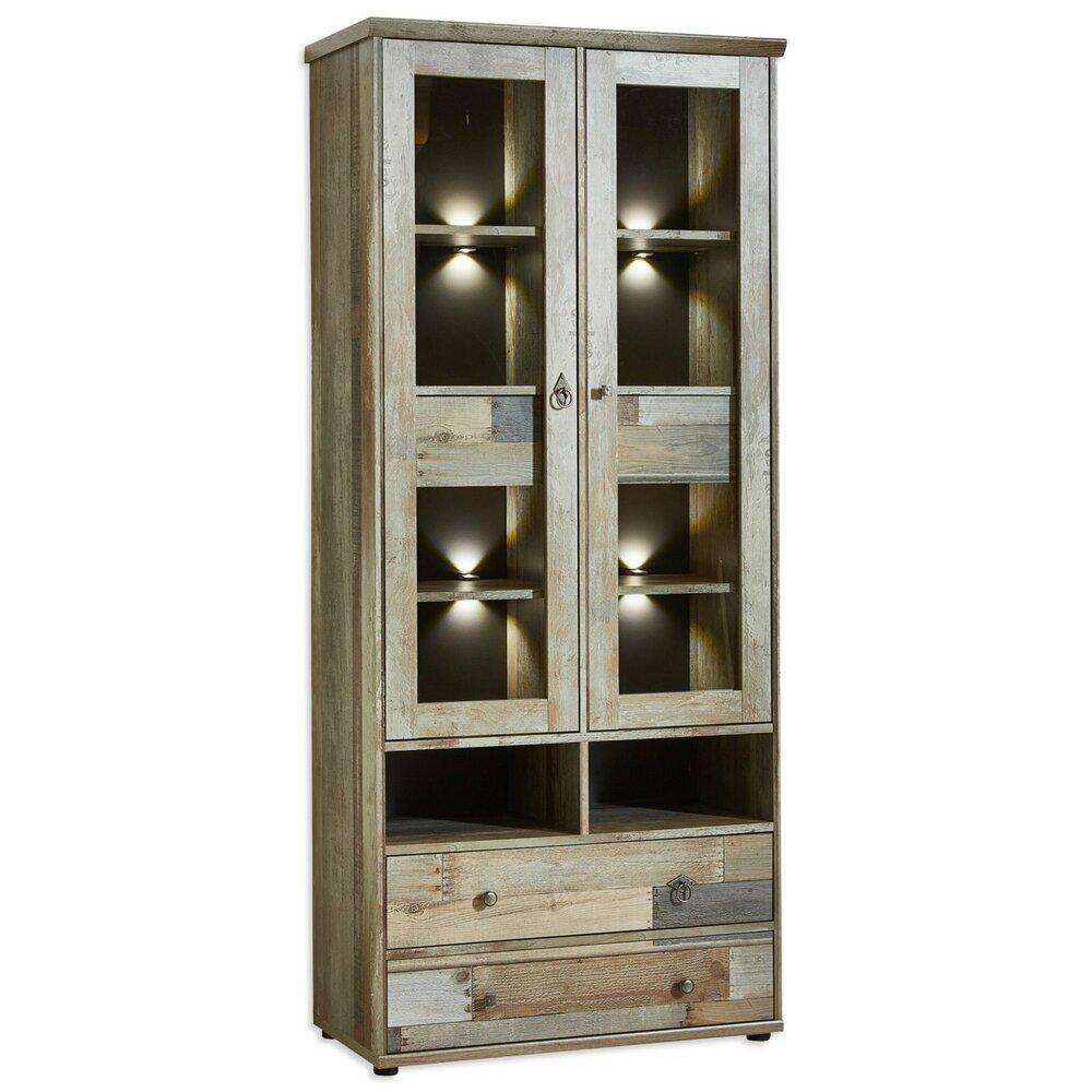 vitrine bonanza driftwood mit led beleuchtung vitrinen wohnzimmer wohnbereiche. Black Bedroom Furniture Sets. Home Design Ideas