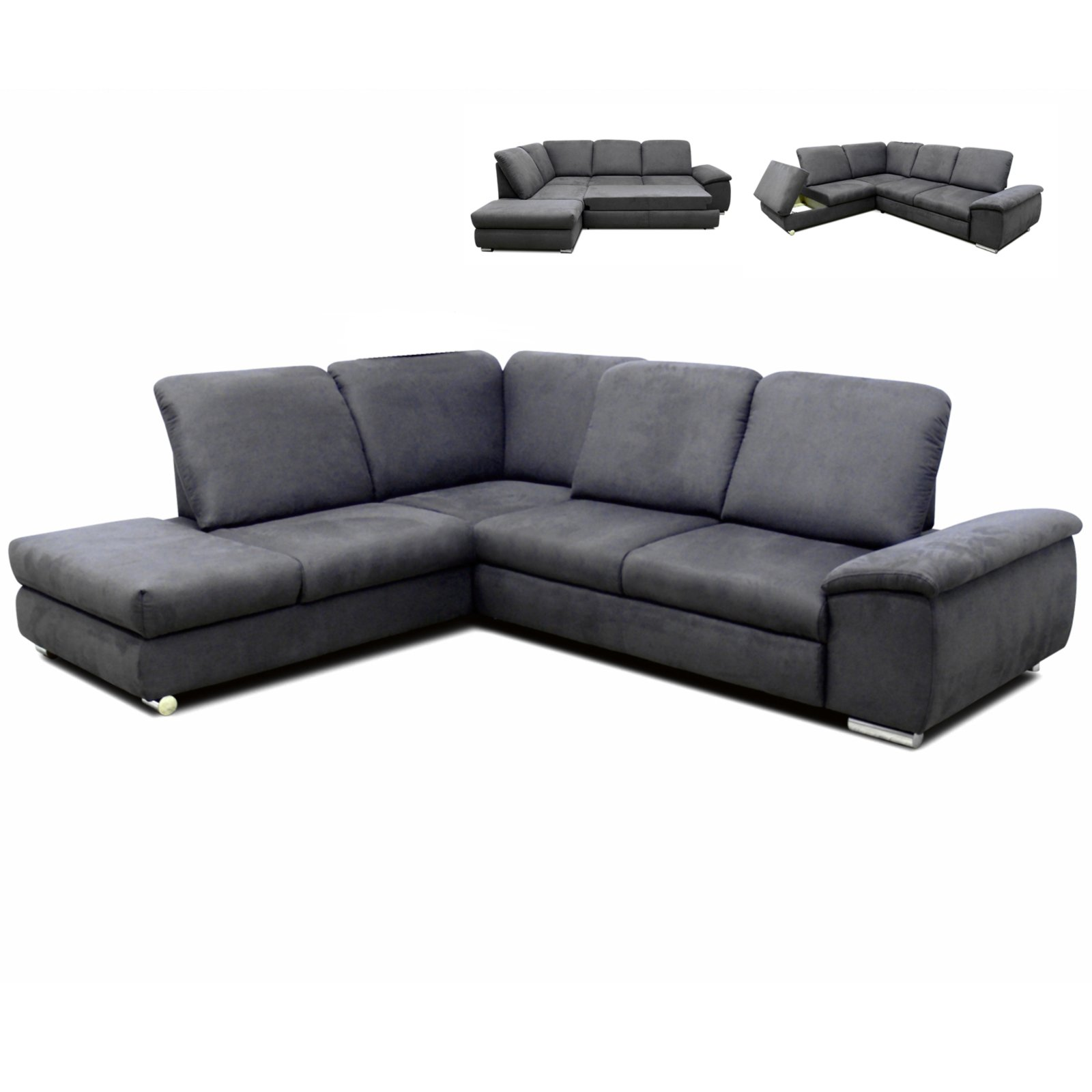 Polsterecke grau mit funktionen staukasten links for Sofa l form grau