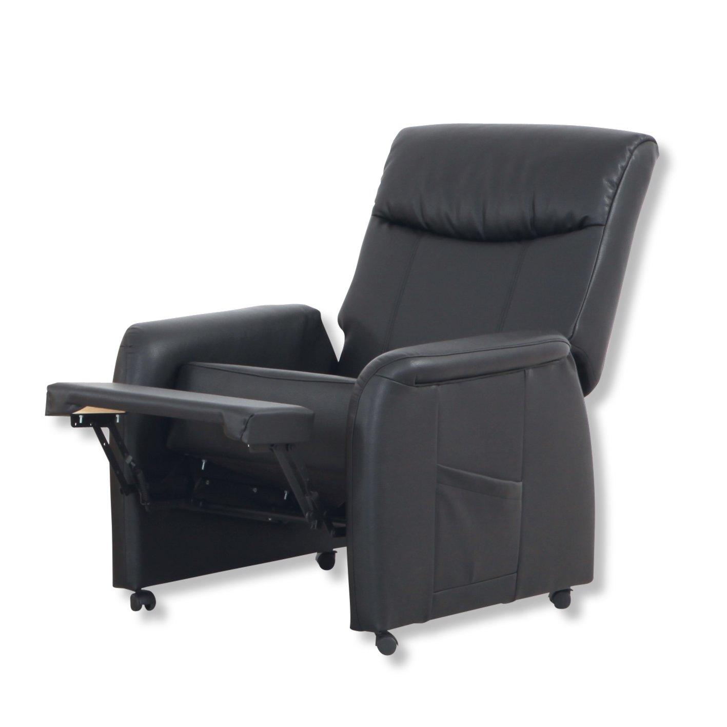 roller tv sessel schwarz kunstleder fu teil verstellbar ebay. Black Bedroom Furniture Sets. Home Design Ideas