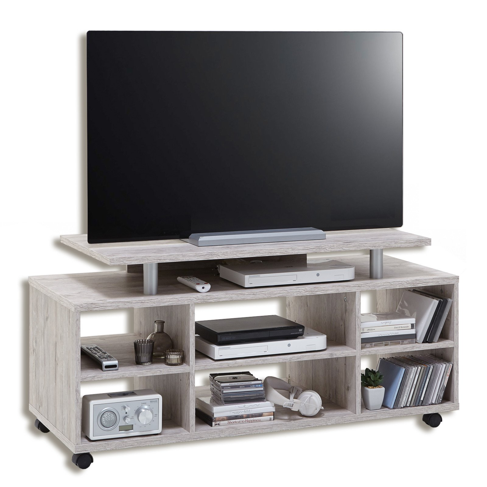 tv hifi rack variant 21 sandeiche mit rollen tv racks tv hifi m bel m bel roller. Black Bedroom Furniture Sets. Home Design Ideas