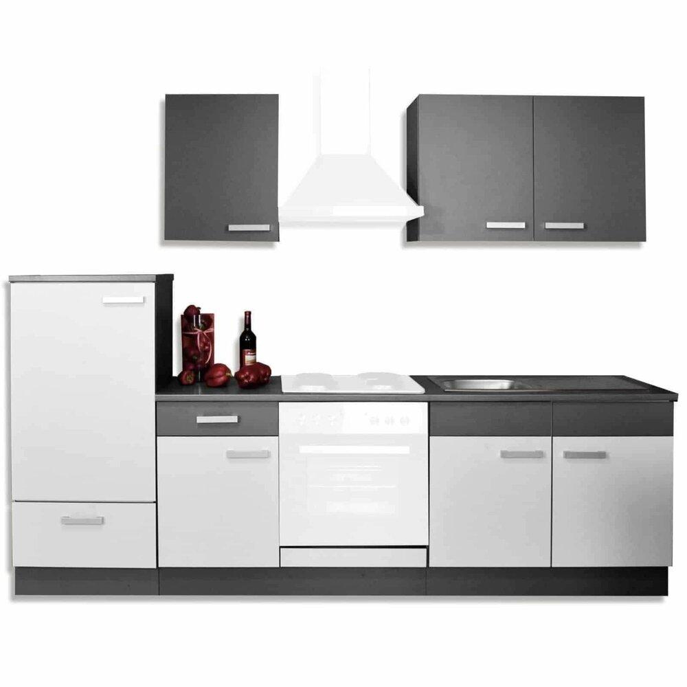 k chenblock greta hellgrau graphit 270 cm breit. Black Bedroom Furniture Sets. Home Design Ideas