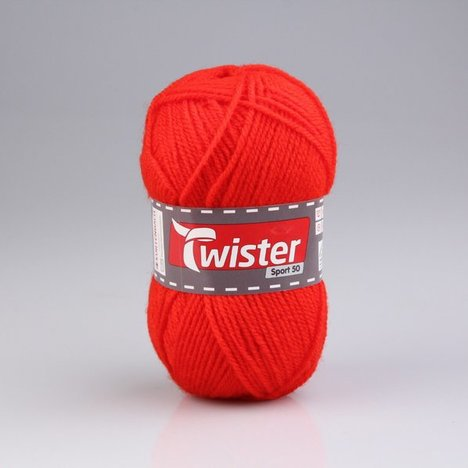 Wolle TWISTER SPORT 50 UNI - rot - 50g