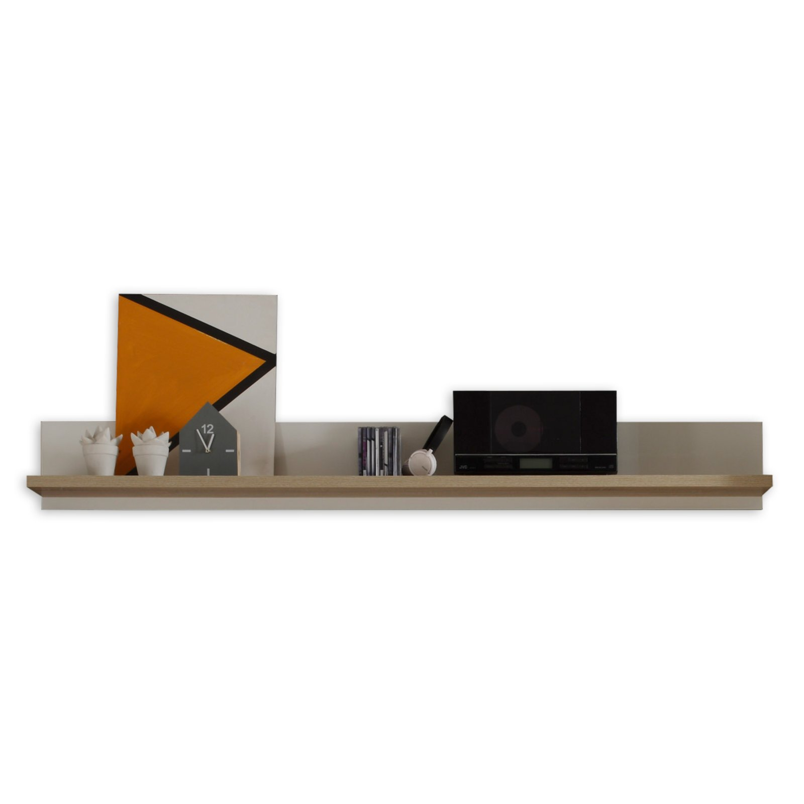 wandboard arena sonoma eiche wei 180 cm breit wohnwand arena wohnwand elemente. Black Bedroom Furniture Sets. Home Design Ideas