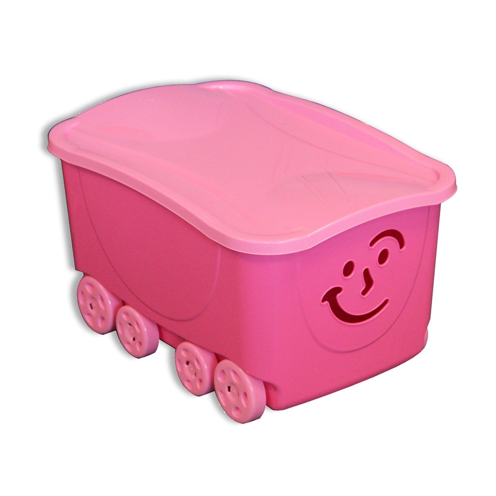 rollbox fancy rosa mit deckel auf rollen spielzeug kinder jugendzimmer. Black Bedroom Furniture Sets. Home Design Ideas