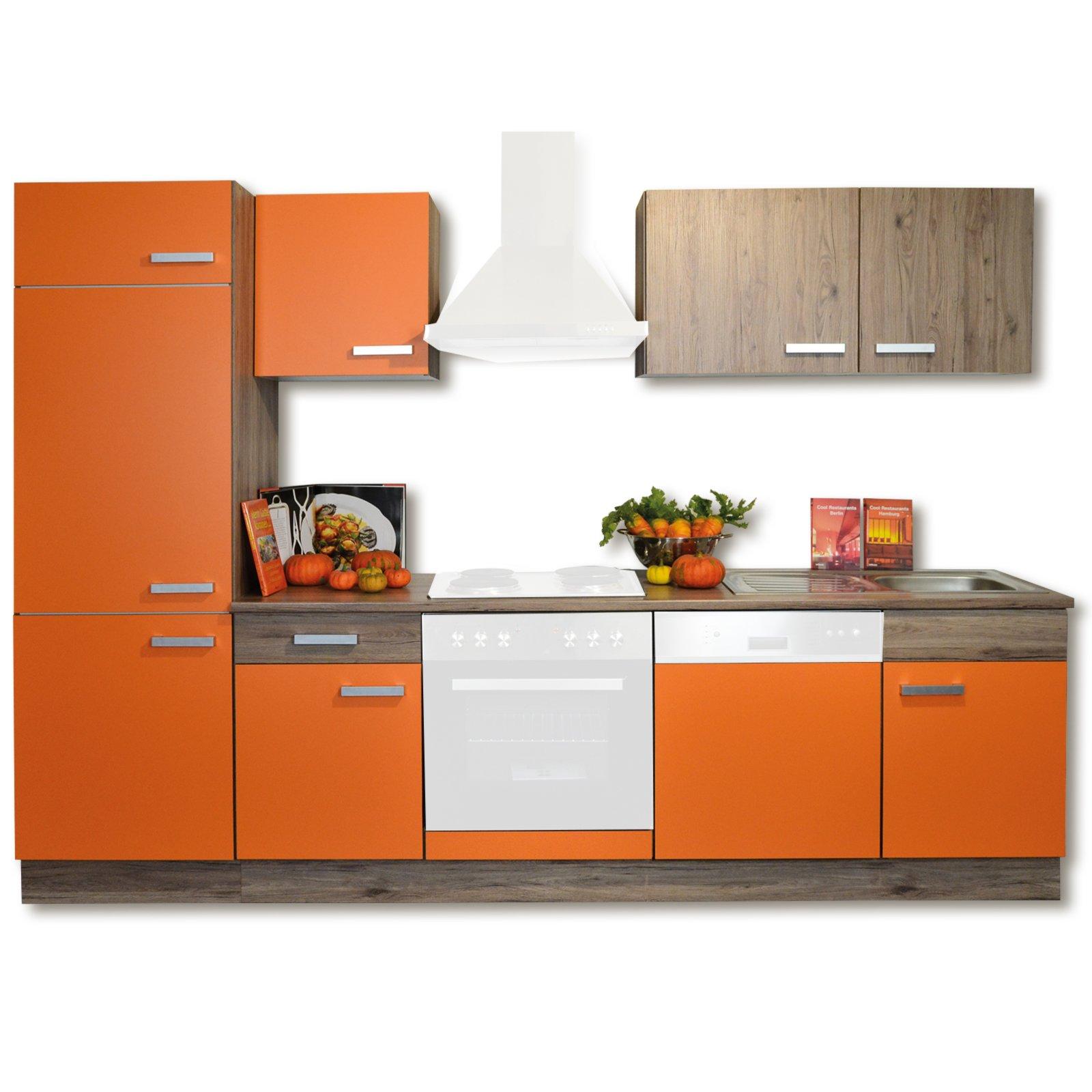 Roller küchenblock  Küchenblock LOUISA - orange matt-San Remo Eiche - 280 cm ...