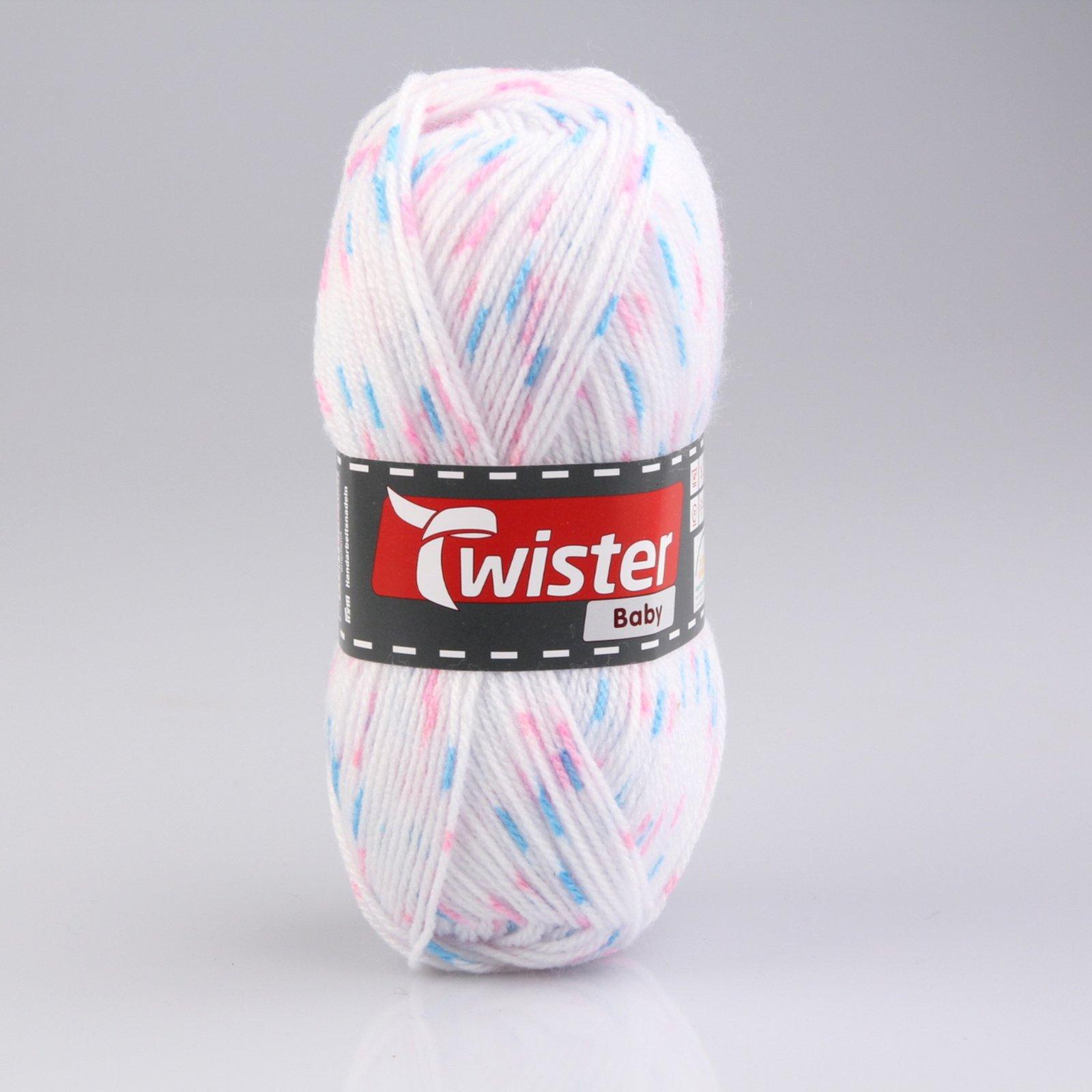 Wolle TWISTER BABY - weiß gefleckt - 50g