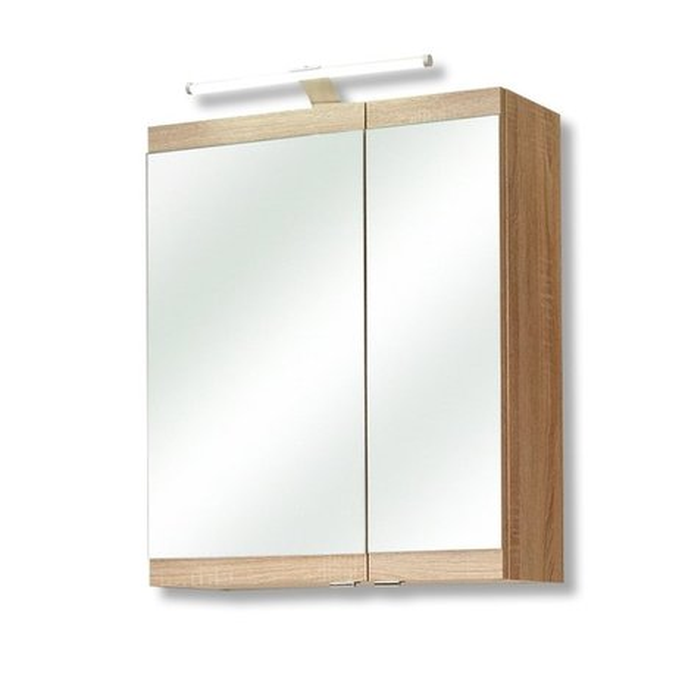 spiegelschrank luanda eiche natur led beleuchtung spiegelschr nke badm bel bad. Black Bedroom Furniture Sets. Home Design Ideas