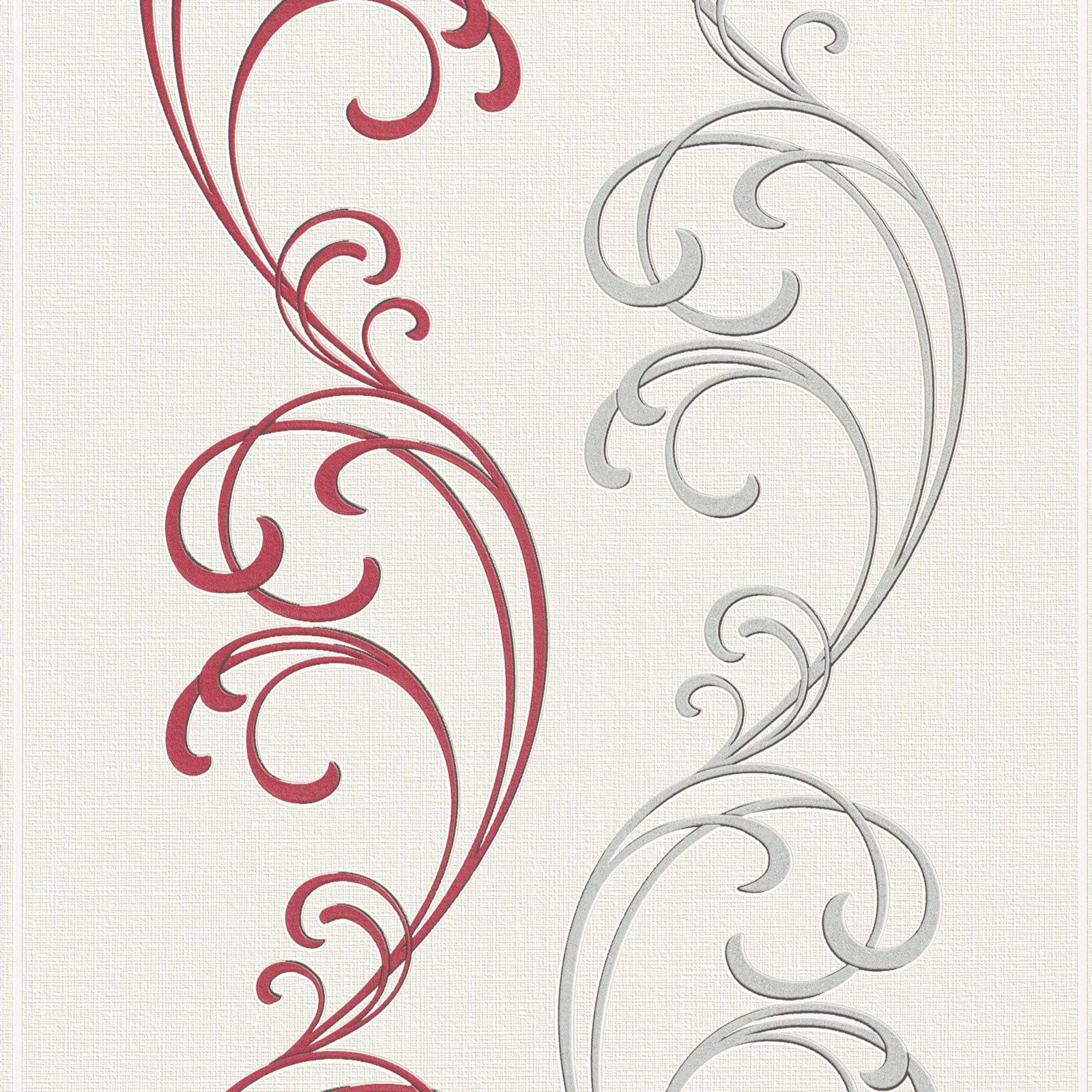 Vliestapete rot silber ornamente 10 meter for Roller tapeten