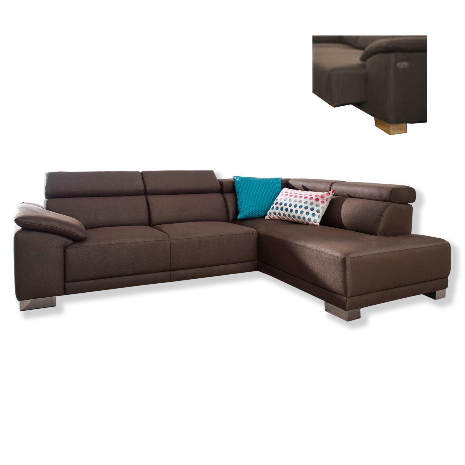 ecksofa braun mit sitzvorzug und kopfteilverstellung ecksofas l form sofas couches. Black Bedroom Furniture Sets. Home Design Ideas