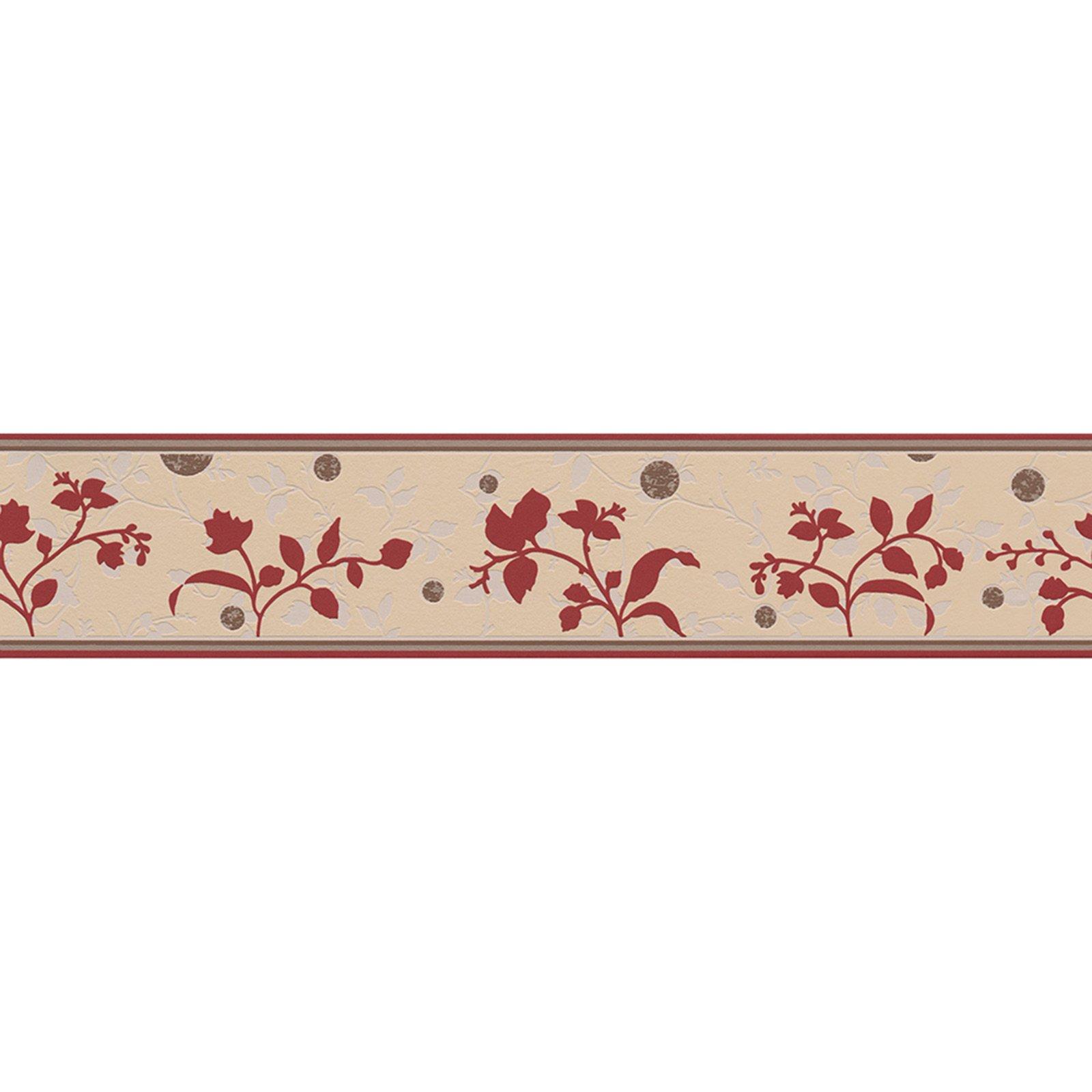 A S Creation Vinyl Borte Only Borders 8 Bordeaux Blumen 13 Cm