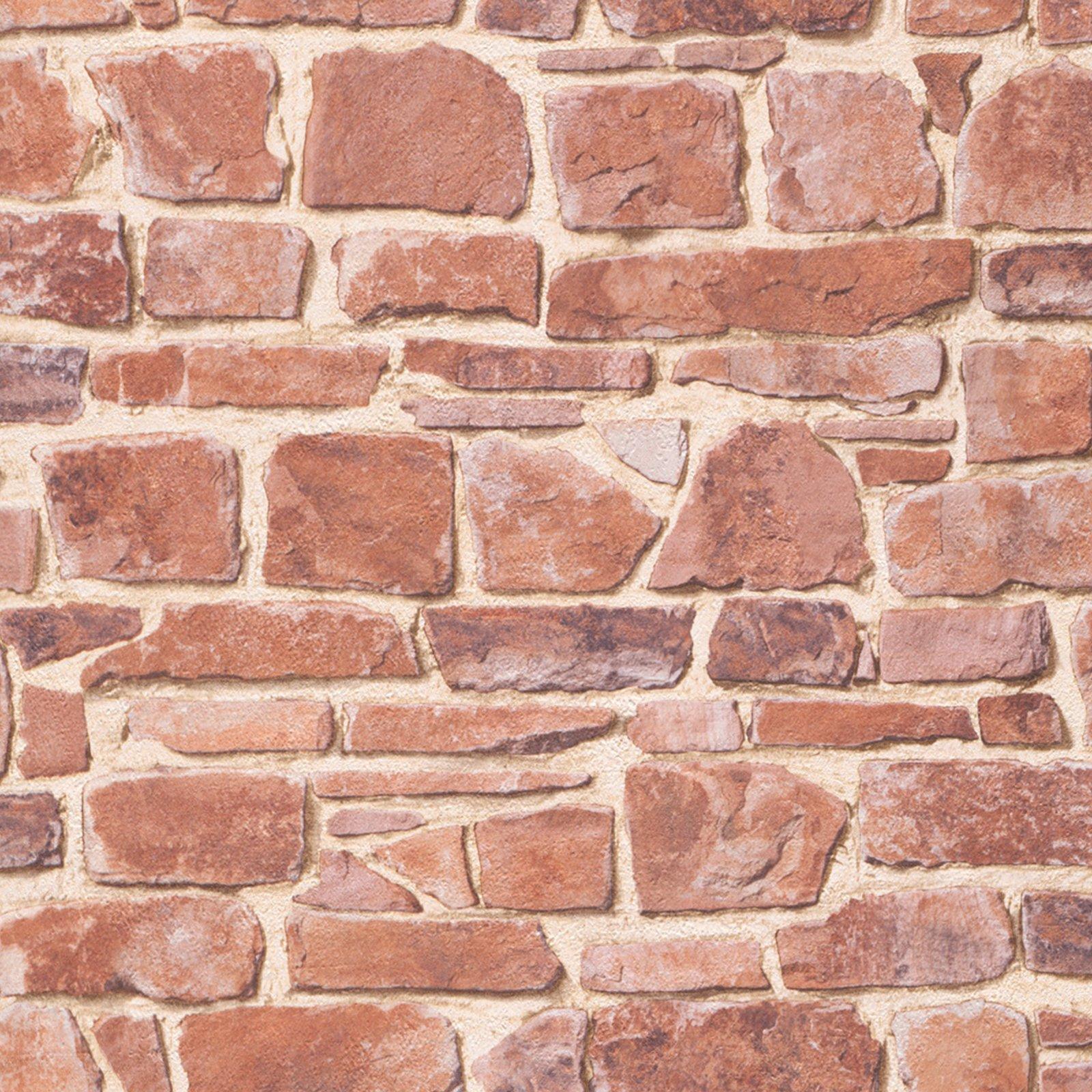 Papiertapete - Steine - rot - 10 Meter
