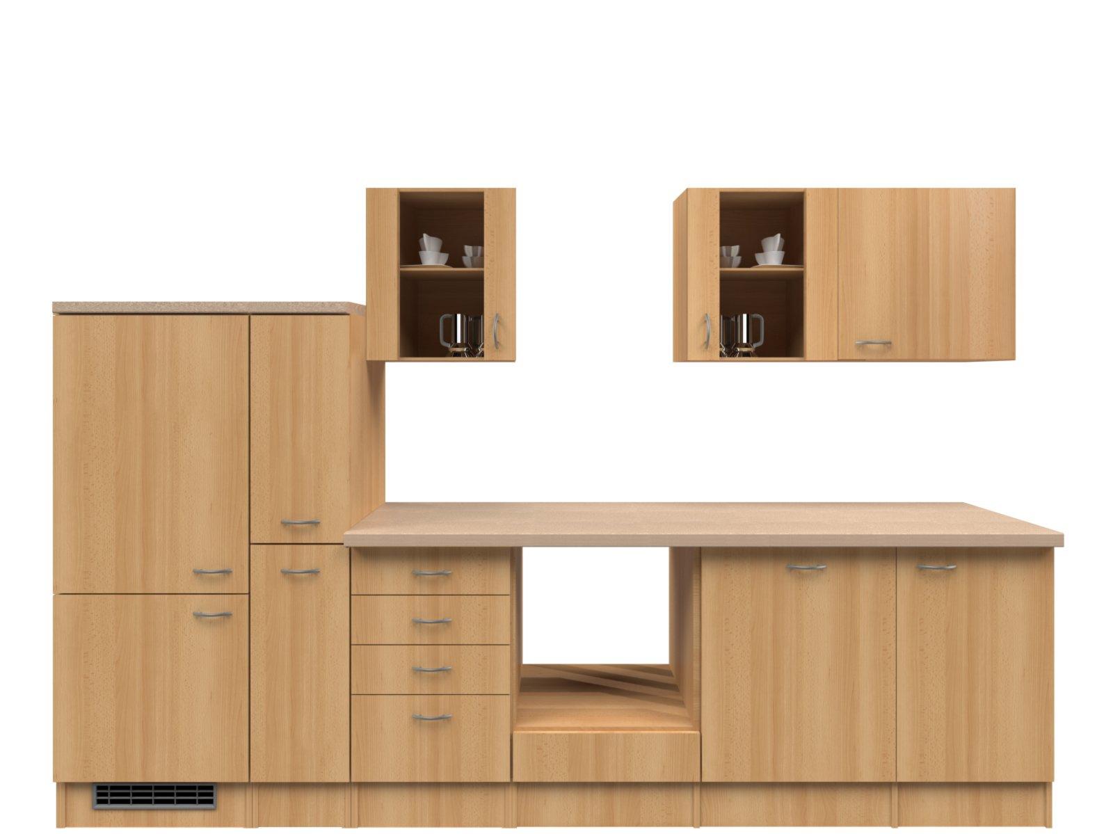 k chenblock nano buche 310 cm k chenzeilen ohne e ger te k chenzeilen m bel roller. Black Bedroom Furniture Sets. Home Design Ideas