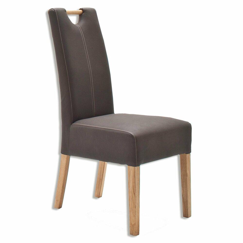 stuhl elida eiche massiv braun kunstleder. Black Bedroom Furniture Sets. Home Design Ideas