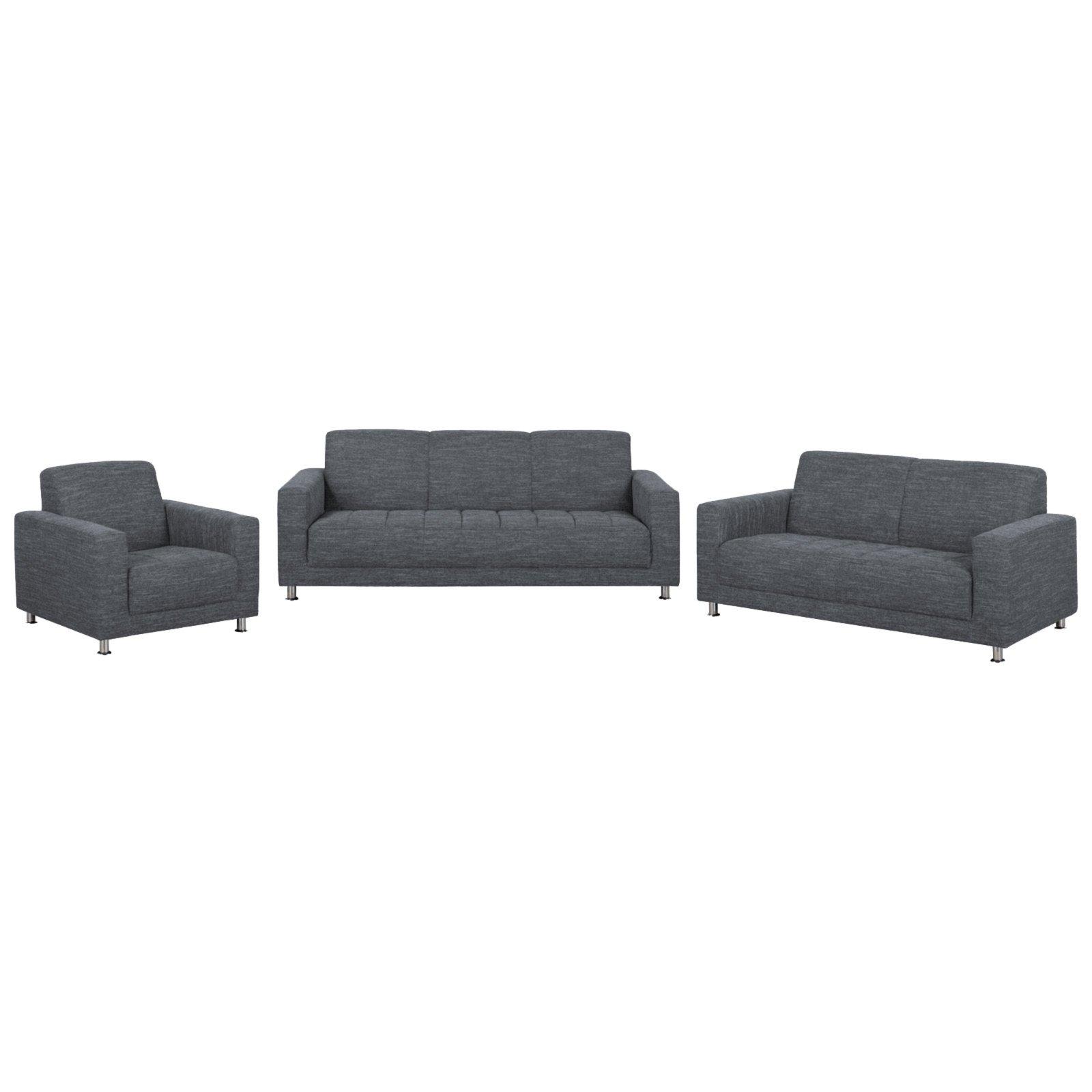 polstergarnitur grau chromf e sofagarnituren sets sofas couches m bel roller. Black Bedroom Furniture Sets. Home Design Ideas