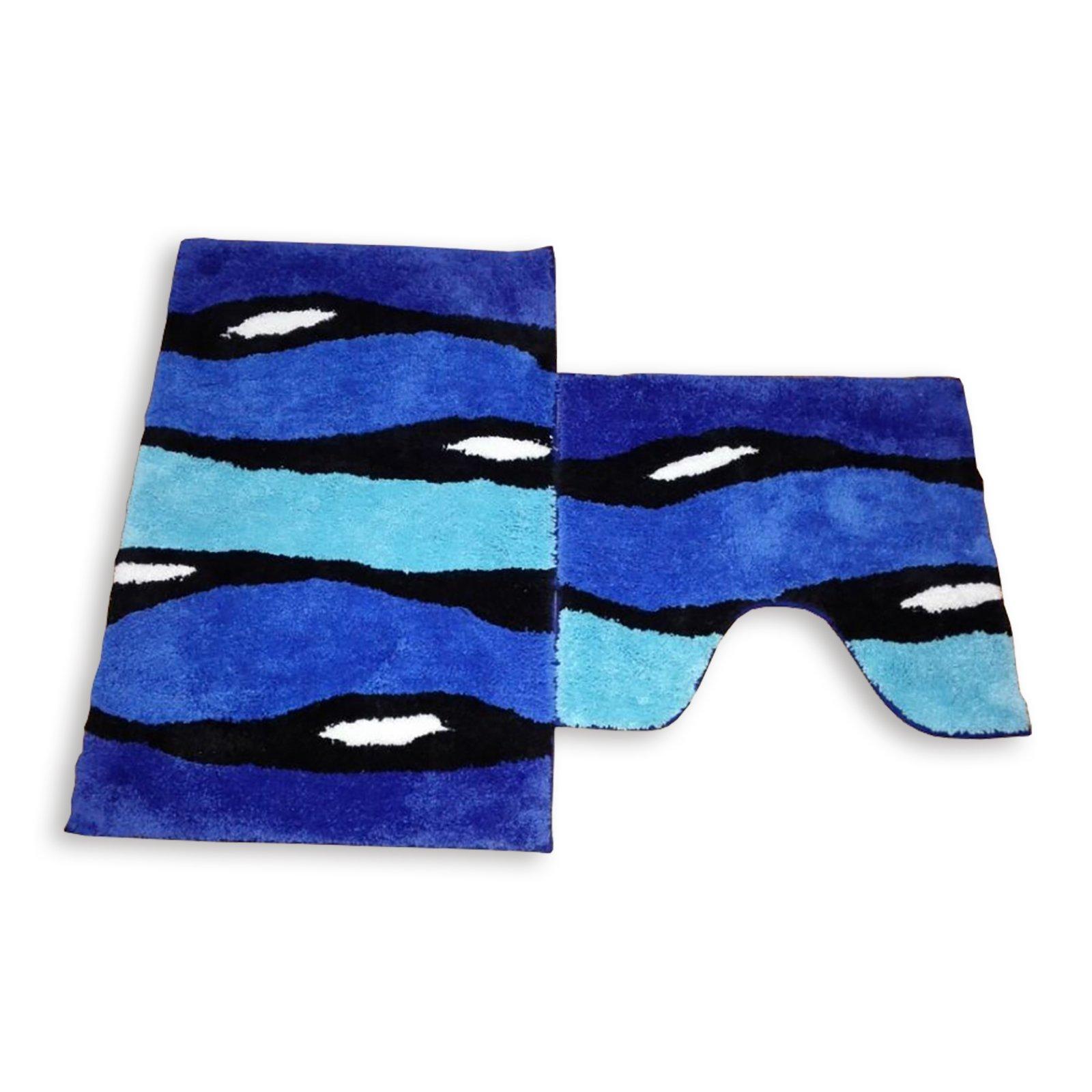 2 teilige badgarnitur bonzo blue blau mit ausschnitt badteppiche matten badtextilien. Black Bedroom Furniture Sets. Home Design Ideas