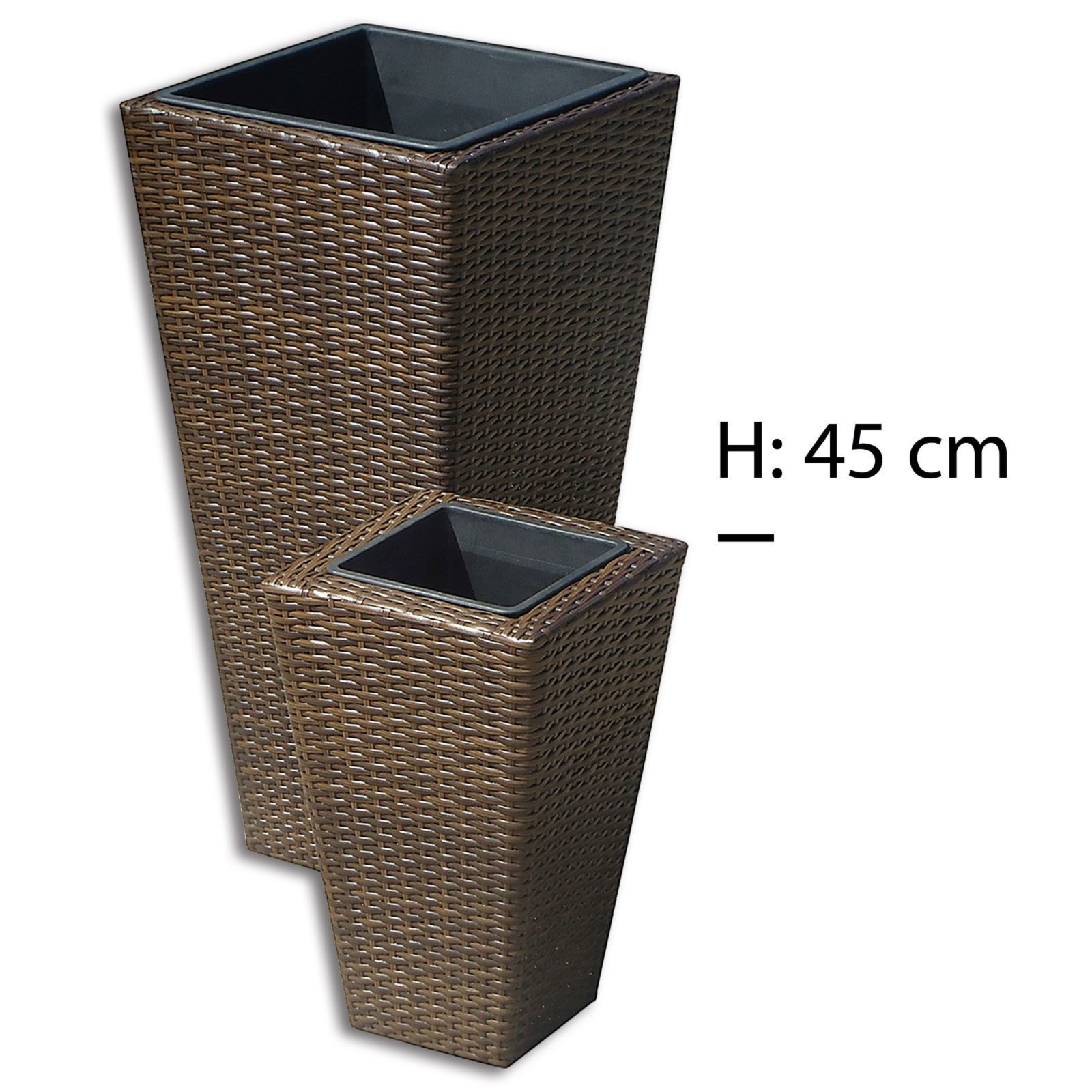 pflanzk bel braun rattan optik h he 45 cm. Black Bedroom Furniture Sets. Home Design Ideas