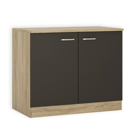 sp lenunterschrank fox anthrazit sonoma eiche 100 cm breit sp lenunterschr nke. Black Bedroom Furniture Sets. Home Design Ideas