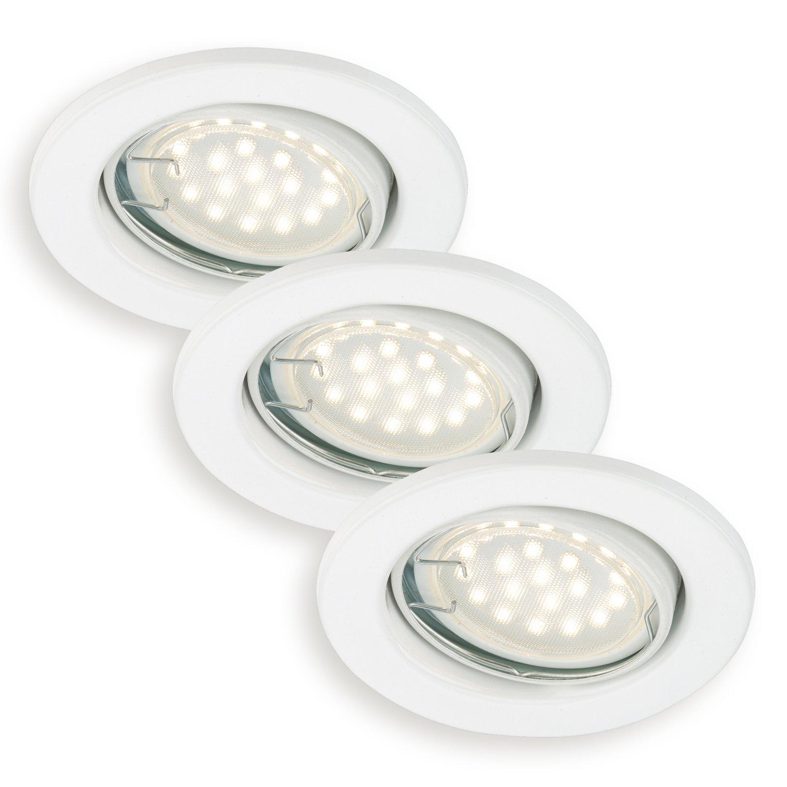 3er set led einbauspots wei schwenkbar einbauspots deckenleuchten lampen roller. Black Bedroom Furniture Sets. Home Design Ideas